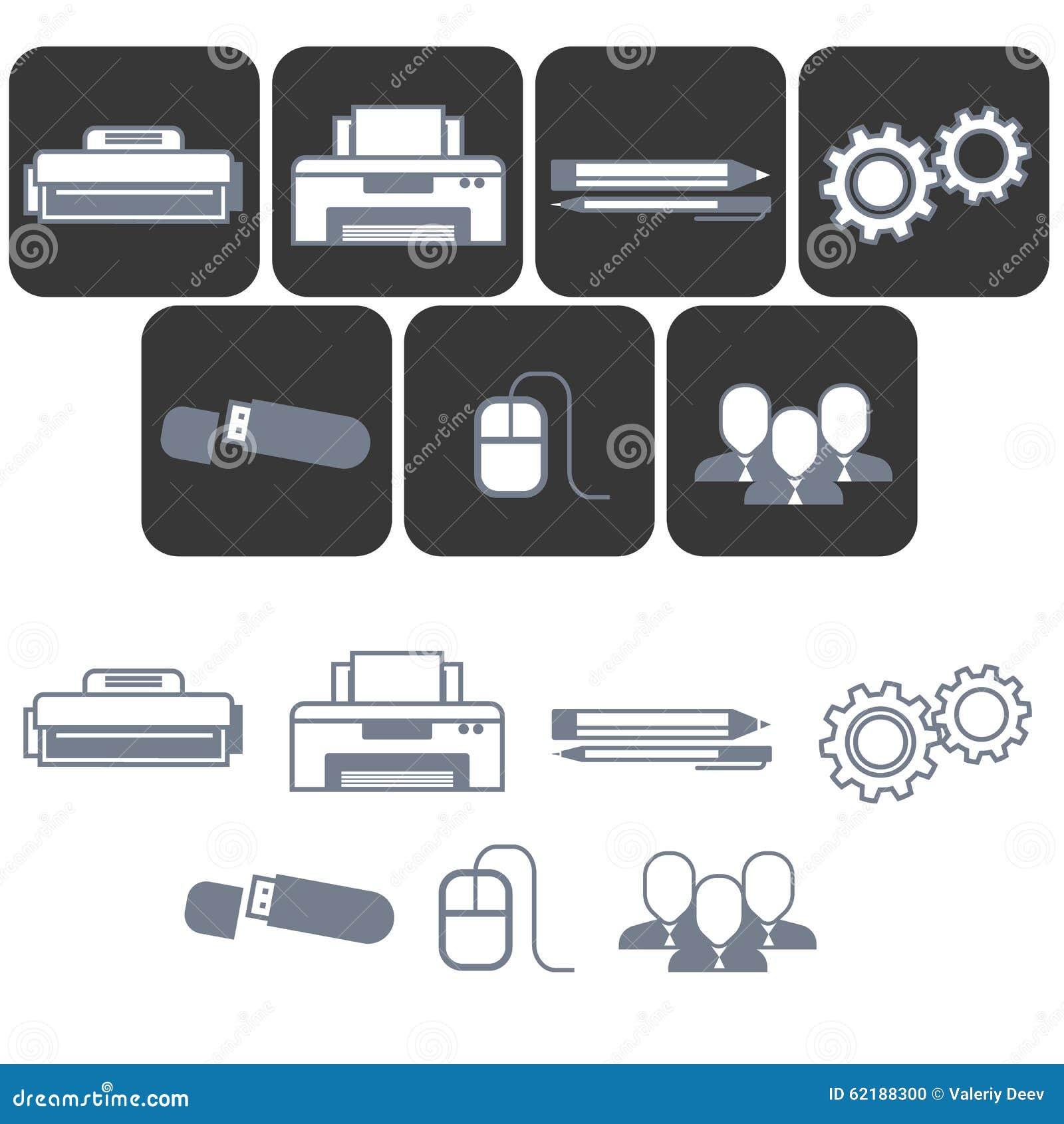 Iconos planos para la tienda del mobiliario de oficinas for Mobiliario para planos