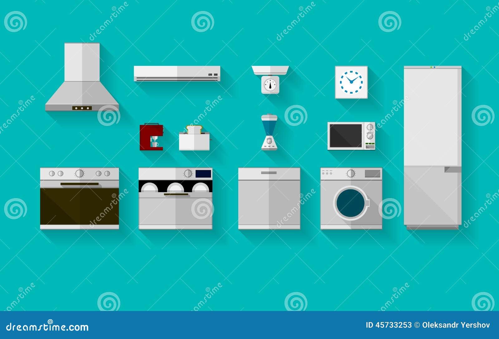 iconos planos para los dispositivos de cocina ilustraci n