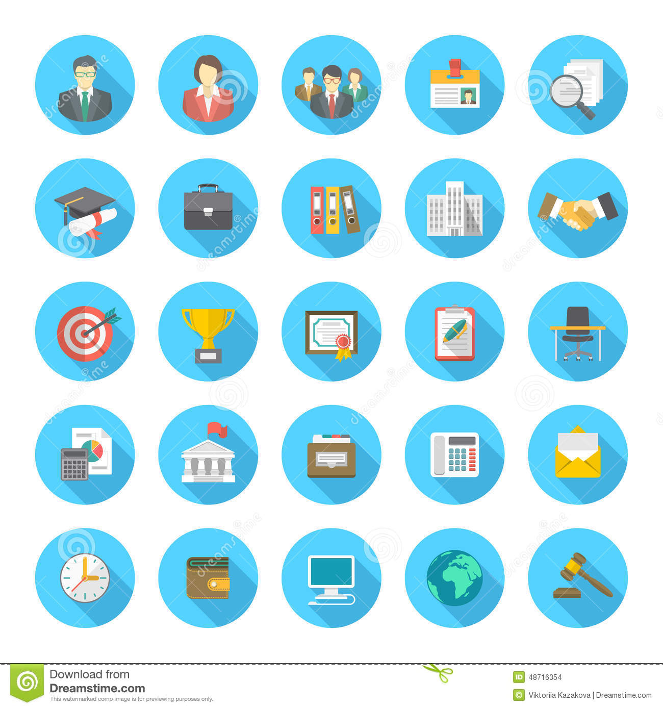 9da5297260abc Iconos planos redondos del curriculum vitae. Download preview. Añada al  lightbox DESCARGA GRATUITA