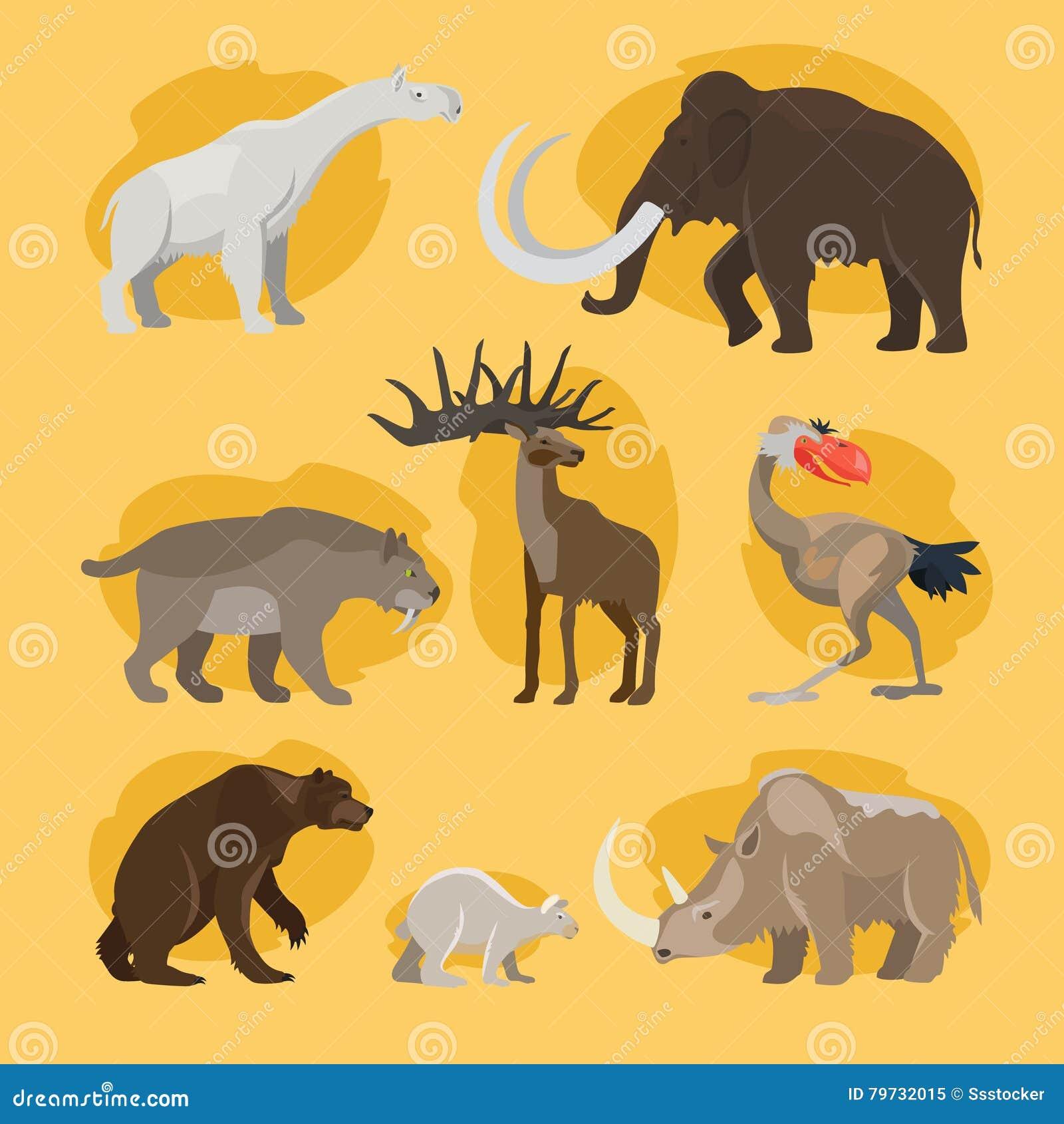 Iconos prehistóricos de la historieta de los animales