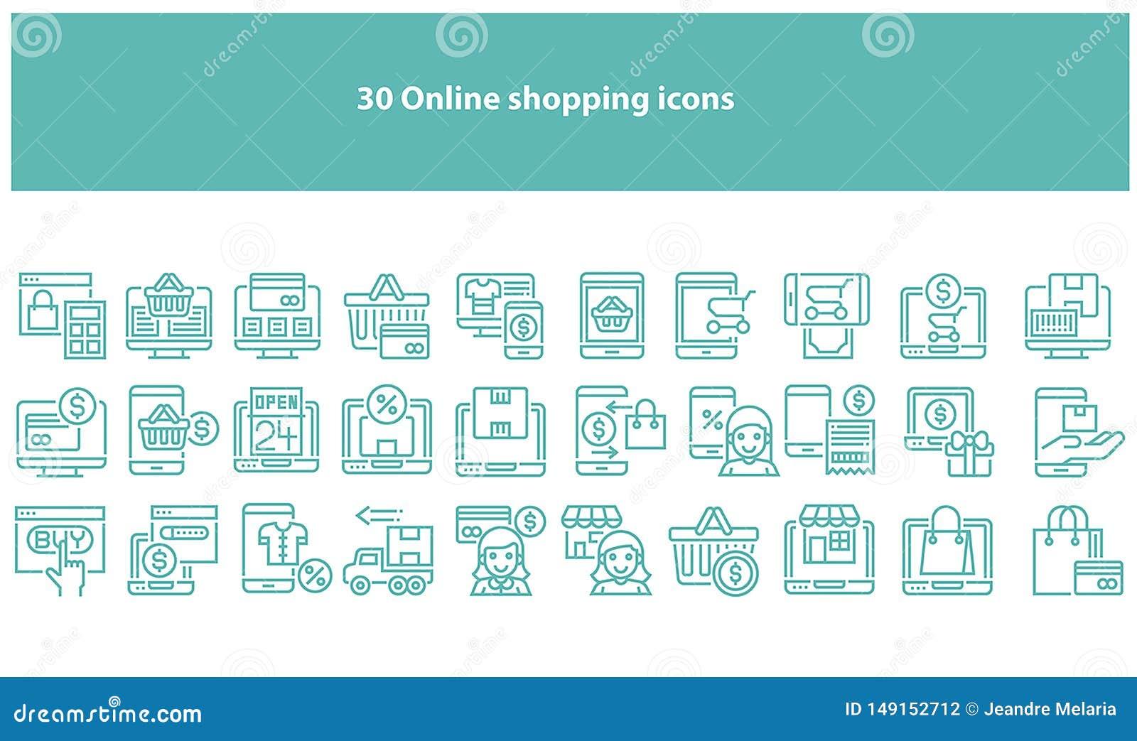 Iconos que hacen compras en línea del torquoise del vector - vector