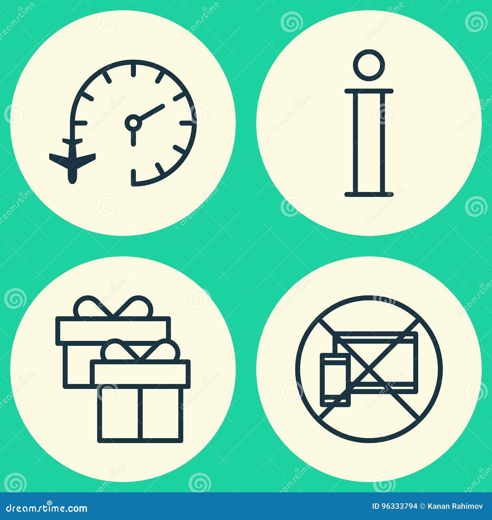 Iconos que viajan fijados Colección de reloj de viaje, de móvil prohibido, de información y de otros elementos También incluye sí