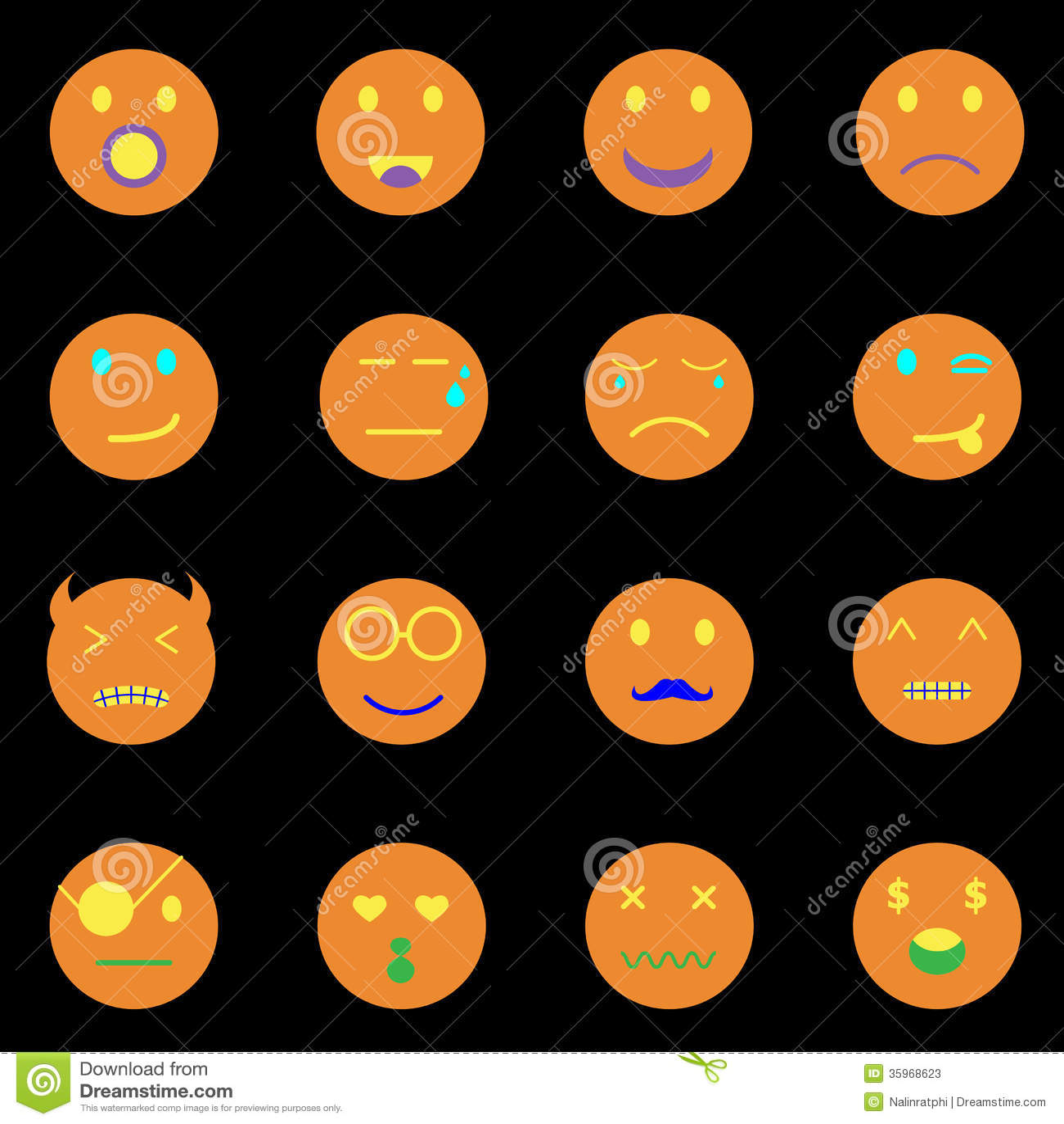 Iconos redondos de la cara de la emoción en fondo negro