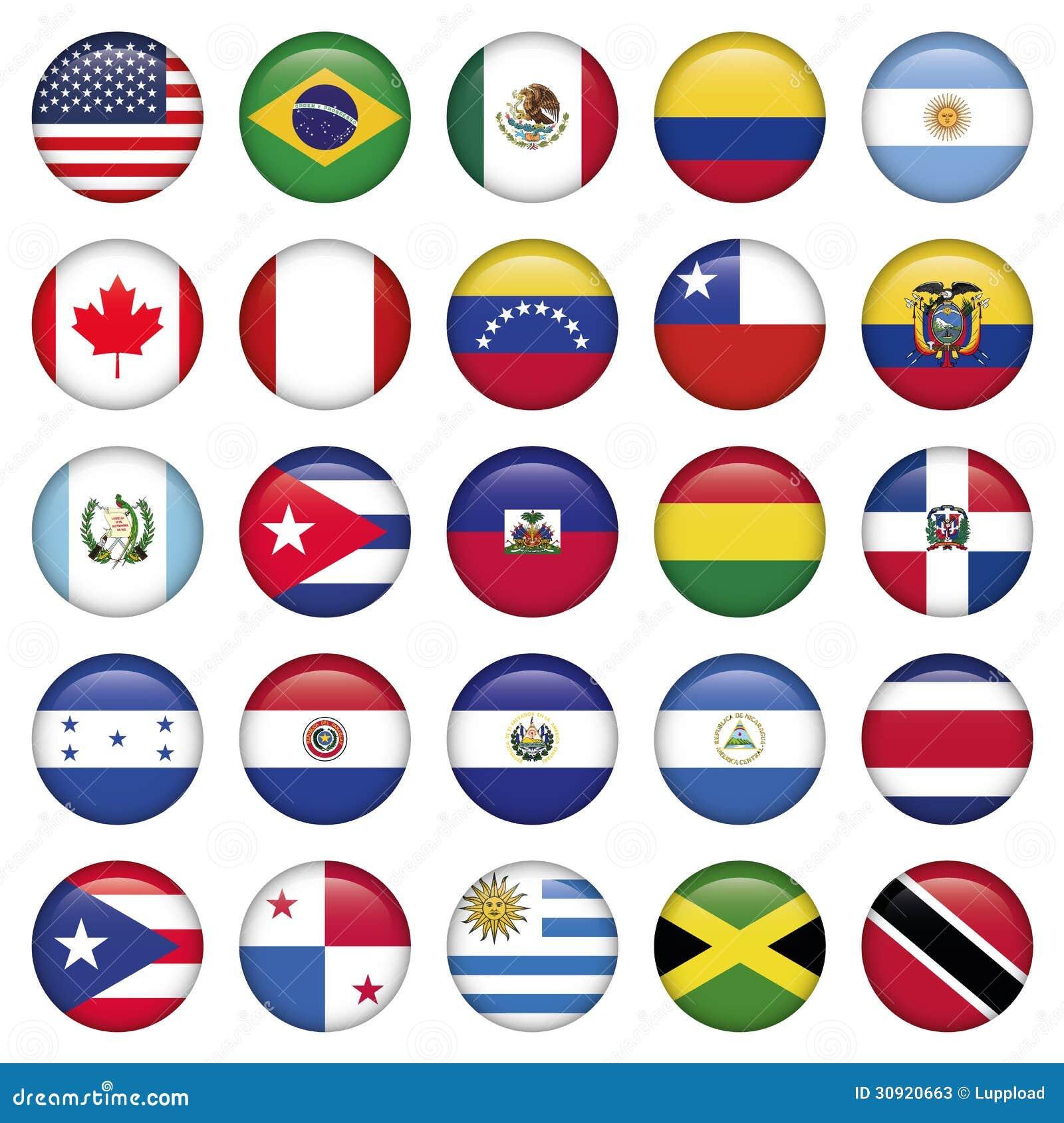 Iconos redondos de las banderas americanas