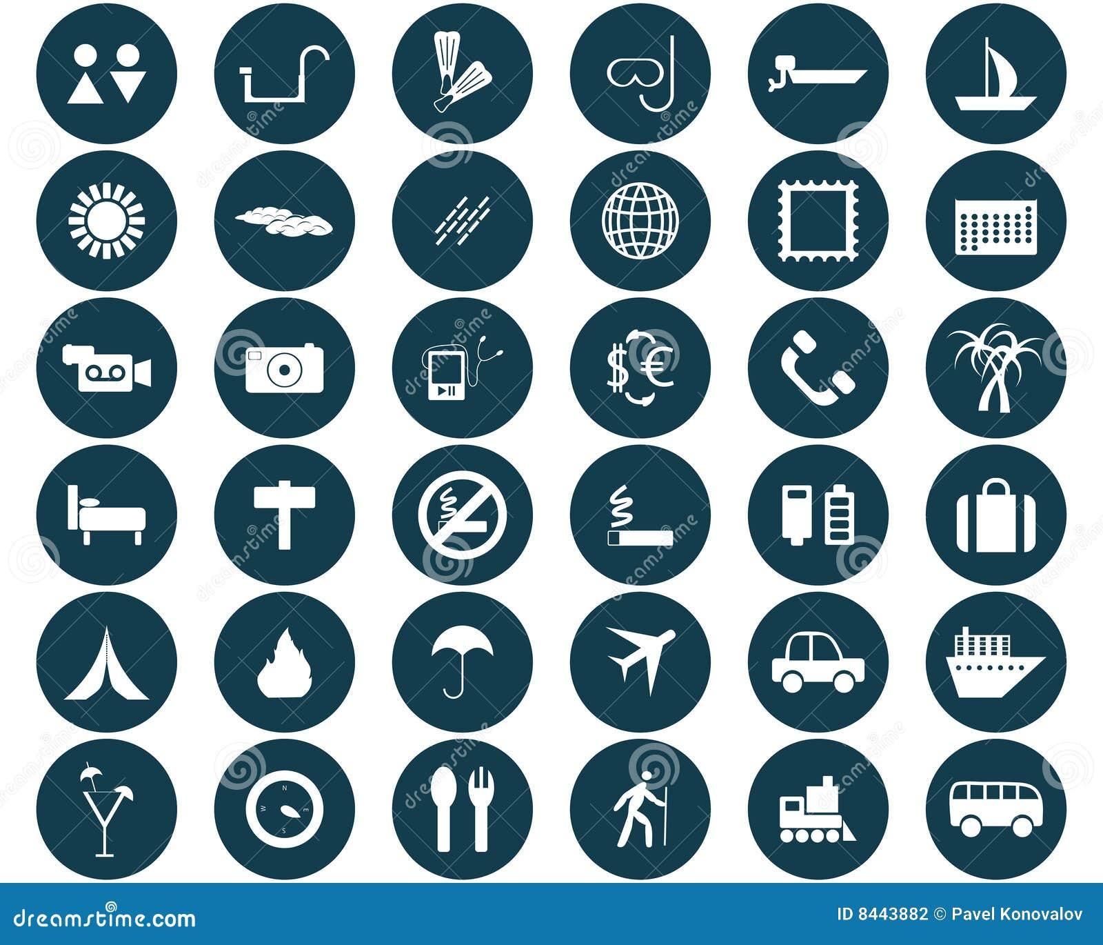 Iconos redondos del recorrido fijados