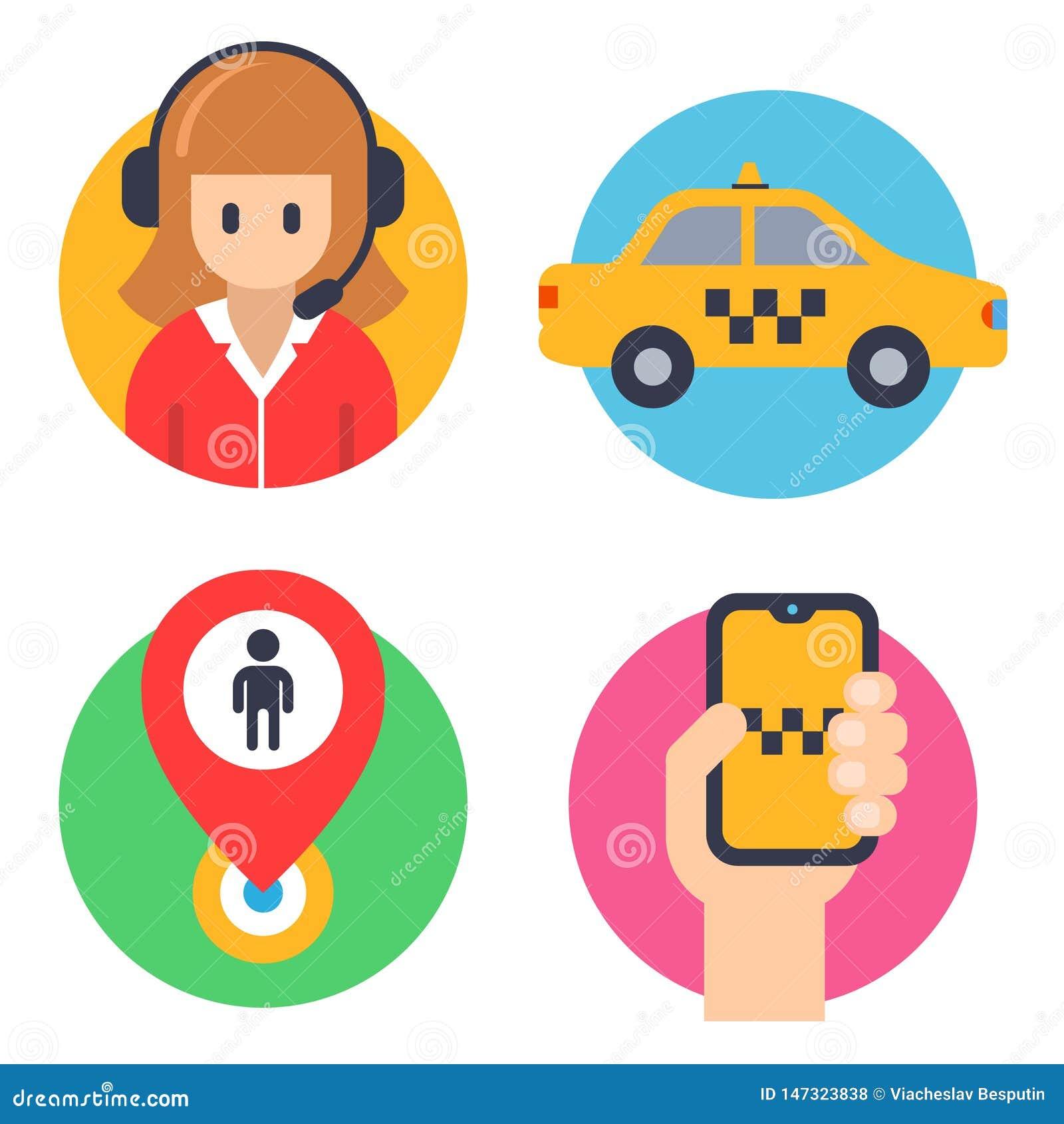 Iconos redondos para los taxis