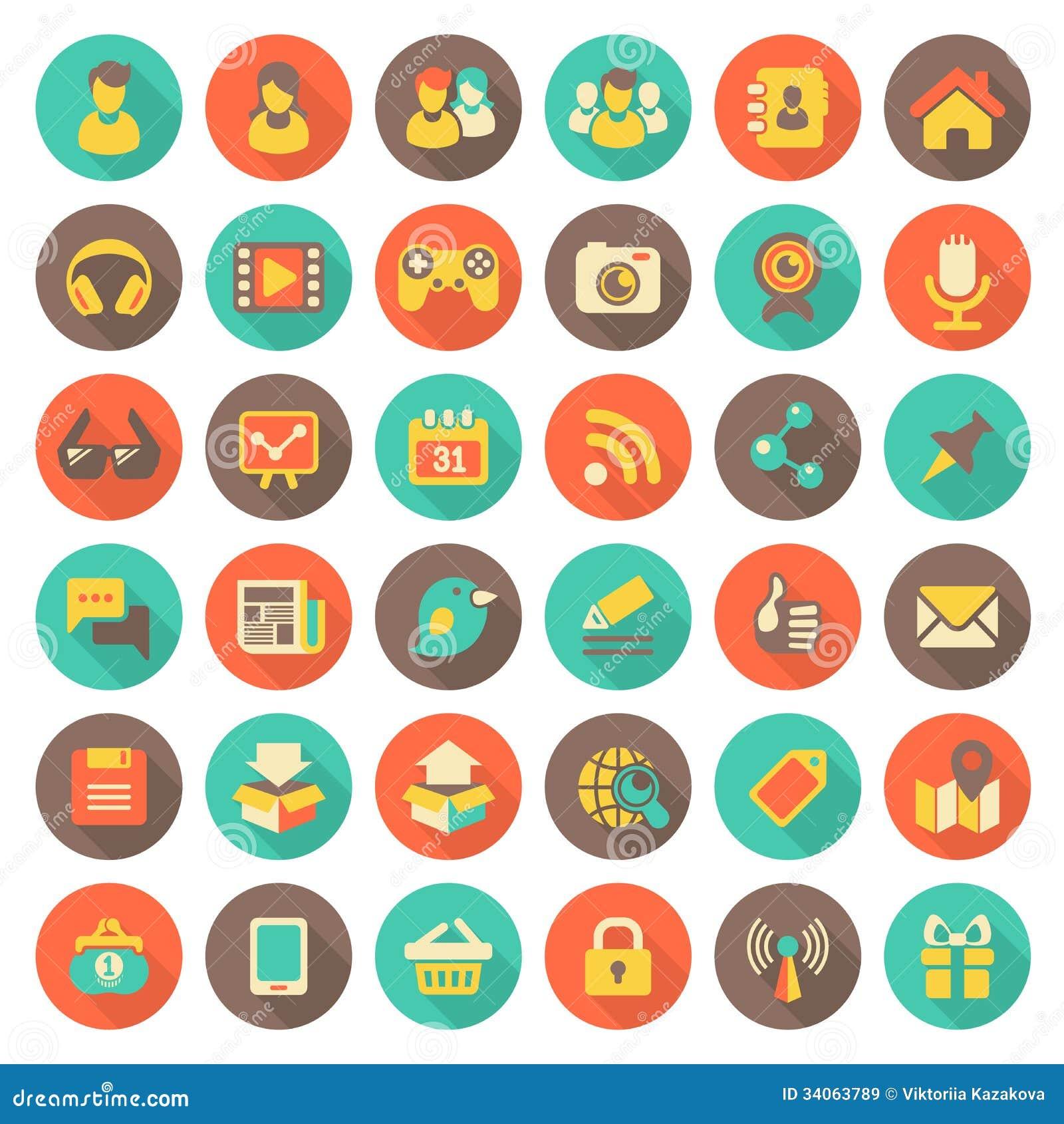 Iconos redondos planos del establecimiento de una red social con las sombras largas