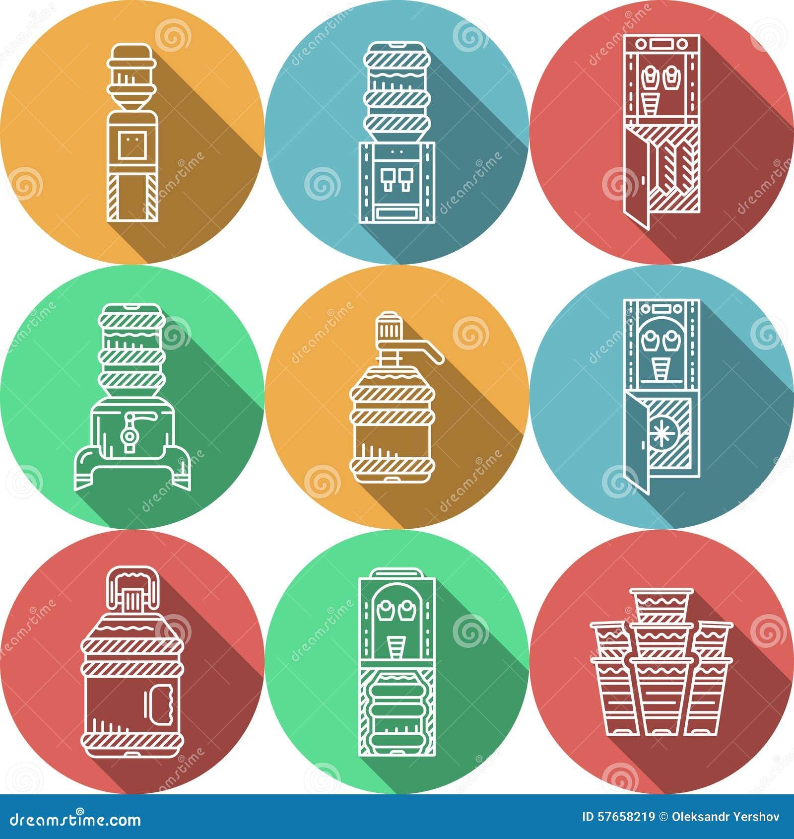 Iconos redondos planos para los refrigeradores de agua