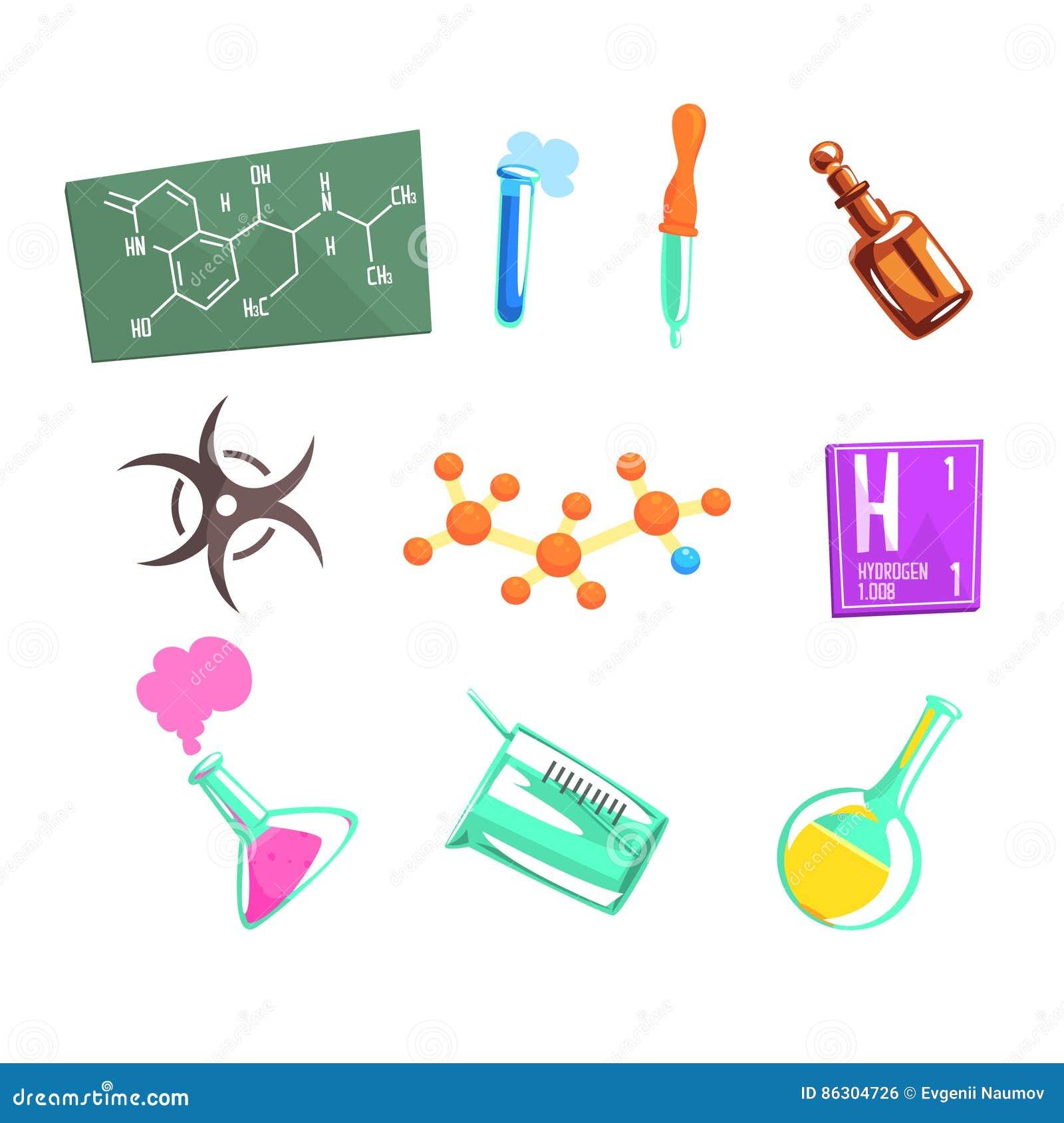 Iconos relacionados de And Chemical Science del científico del químico y equipo experimental del laboratorio