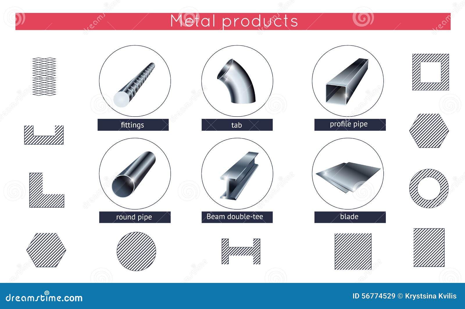 Iconos rodados del vector de los productos de metal fijados