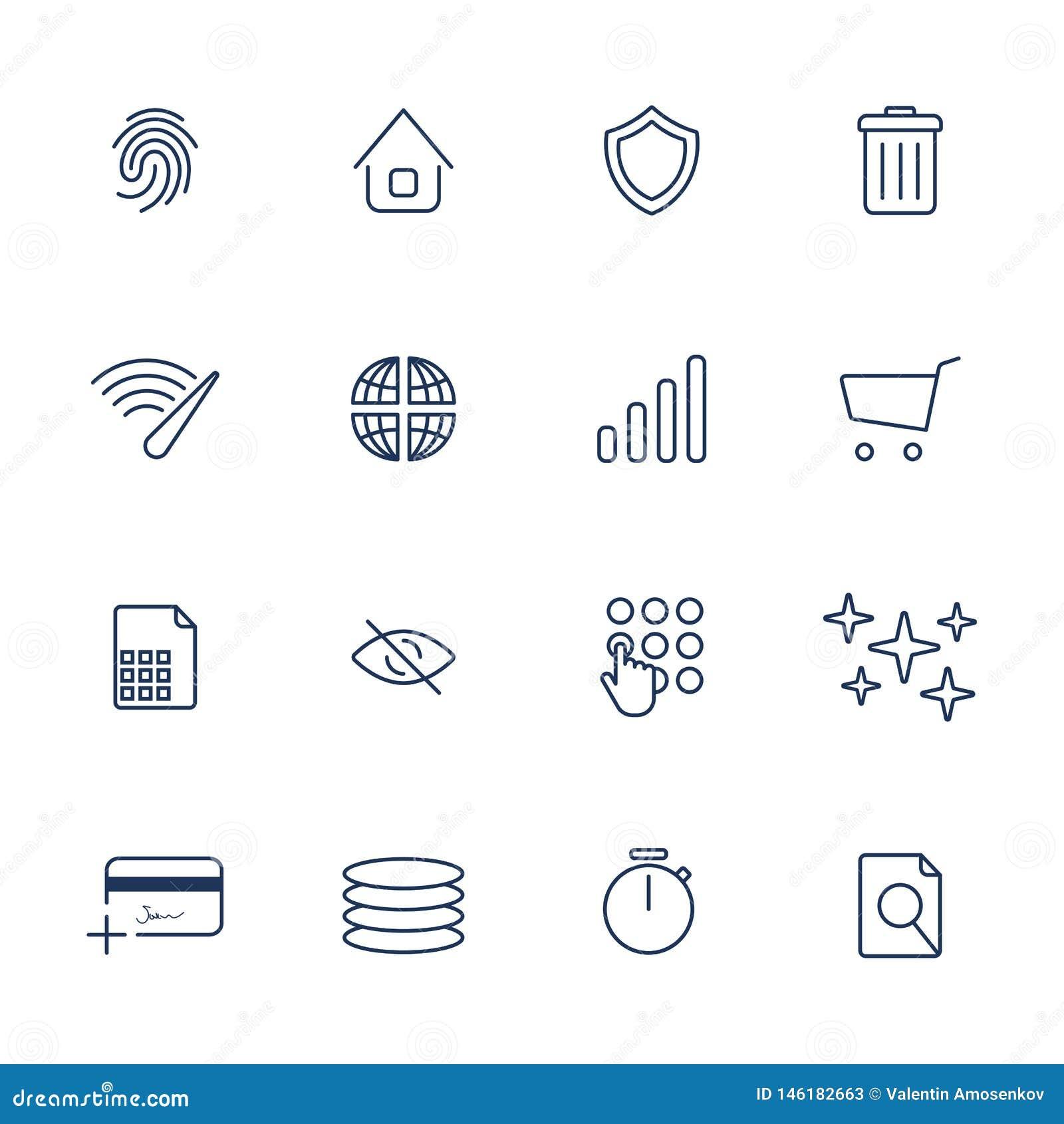 Iconos simples de Internet fijados Iconos universales de Internet