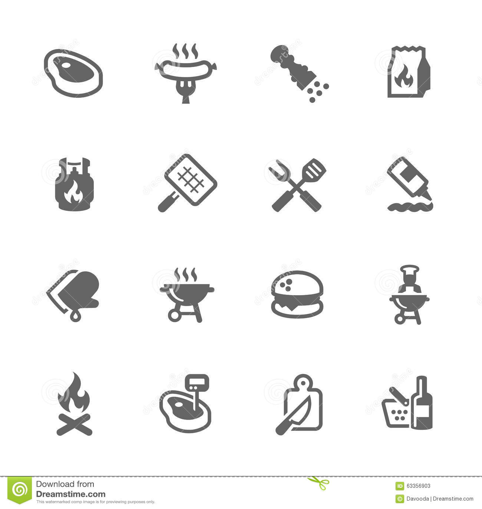 Iconos simples de la barbacoa