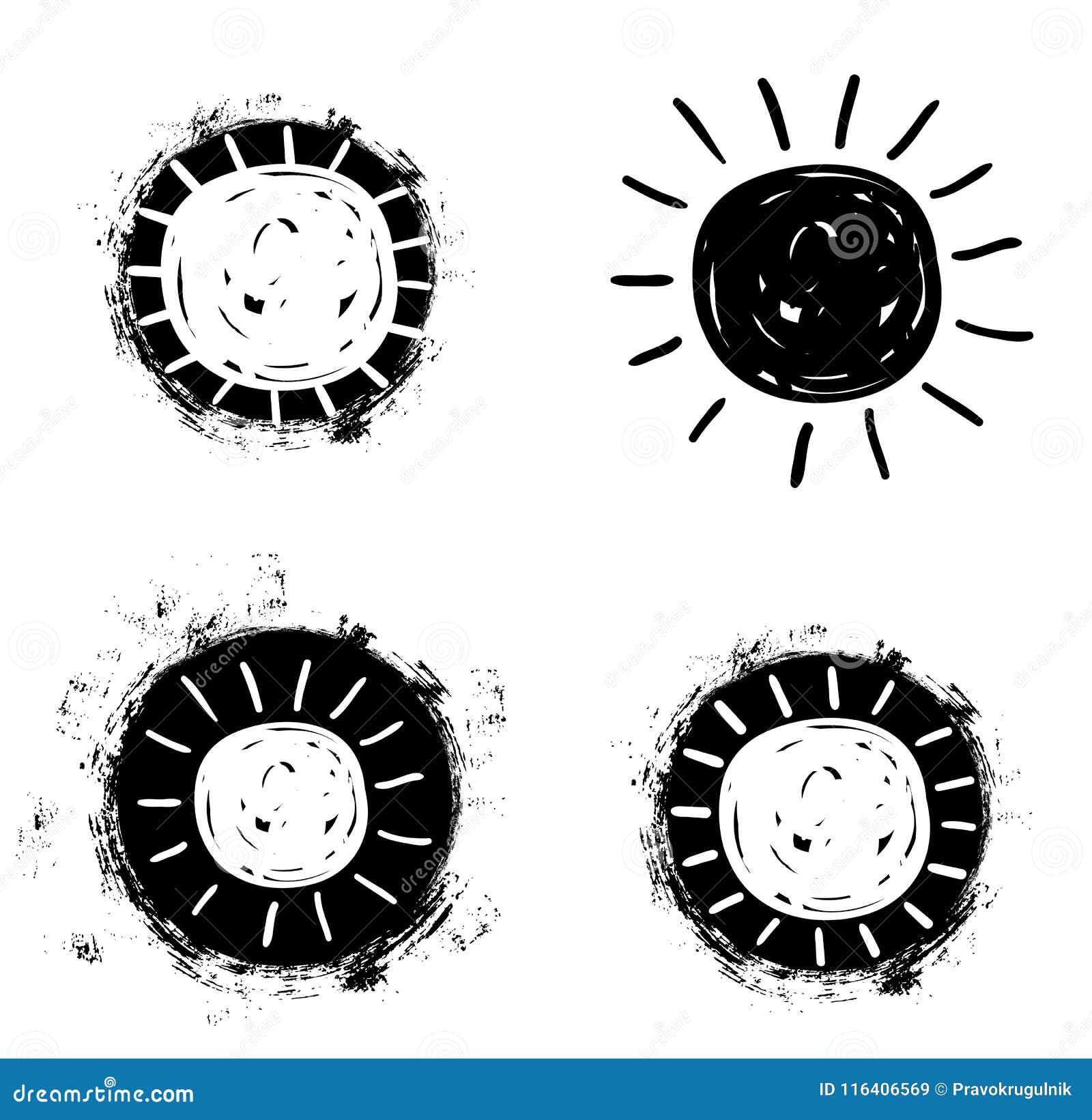 iconos simples del dibujo del sol del vector en estilo plano