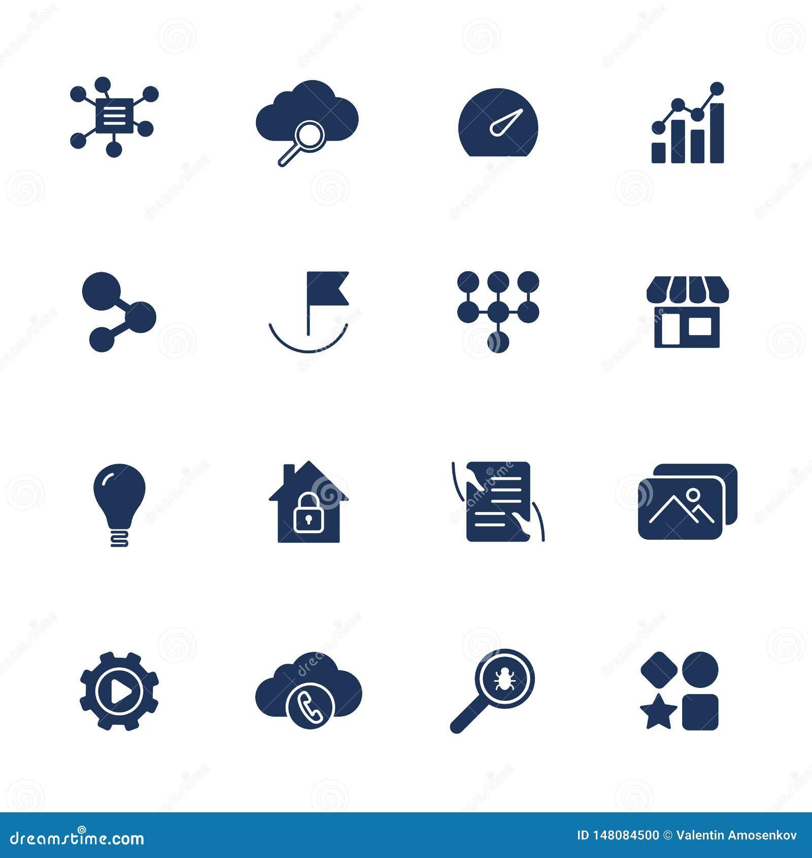 Iconos simples para el app, sitios, programas de UI Diversos iconos de UI Pictogramas simples en el fondo blanco