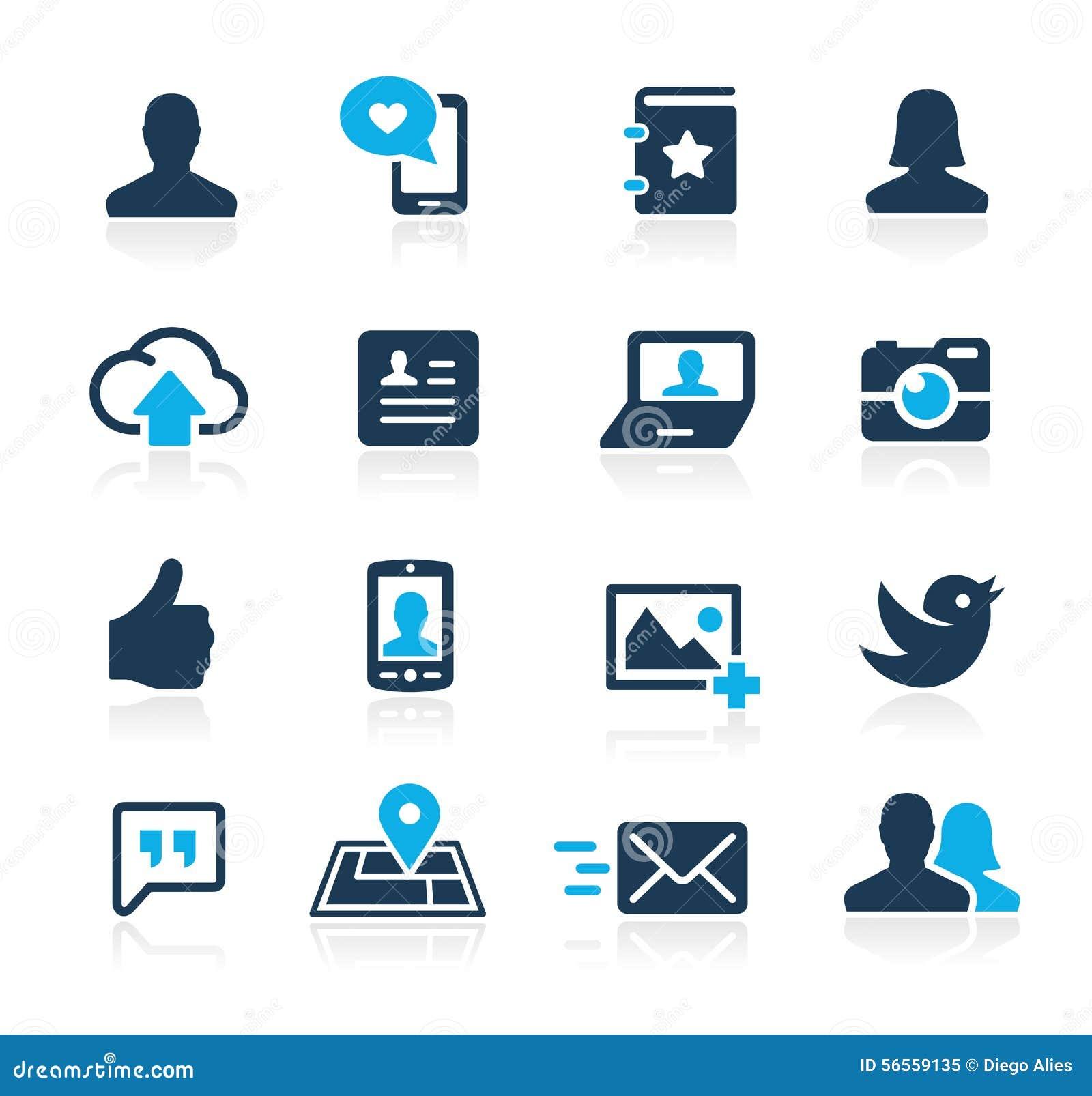 Iconos sociales Azure Series del web