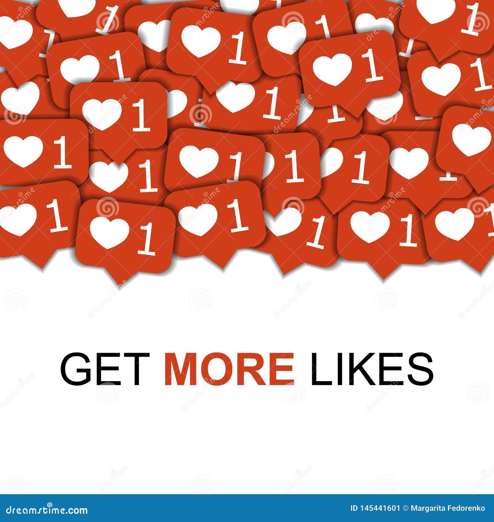 Iconos sociales de los medios en el fondo abstracto con los corazones, ejemplo viral de comercialización de la forma del conteni