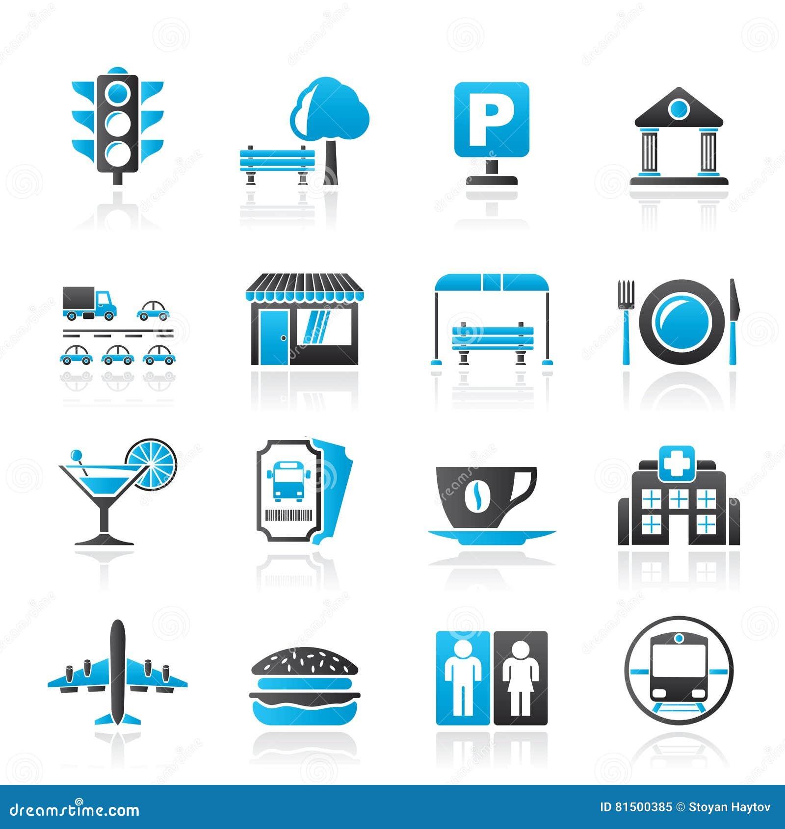 Iconos urbanos y de la ciudad de los elementos