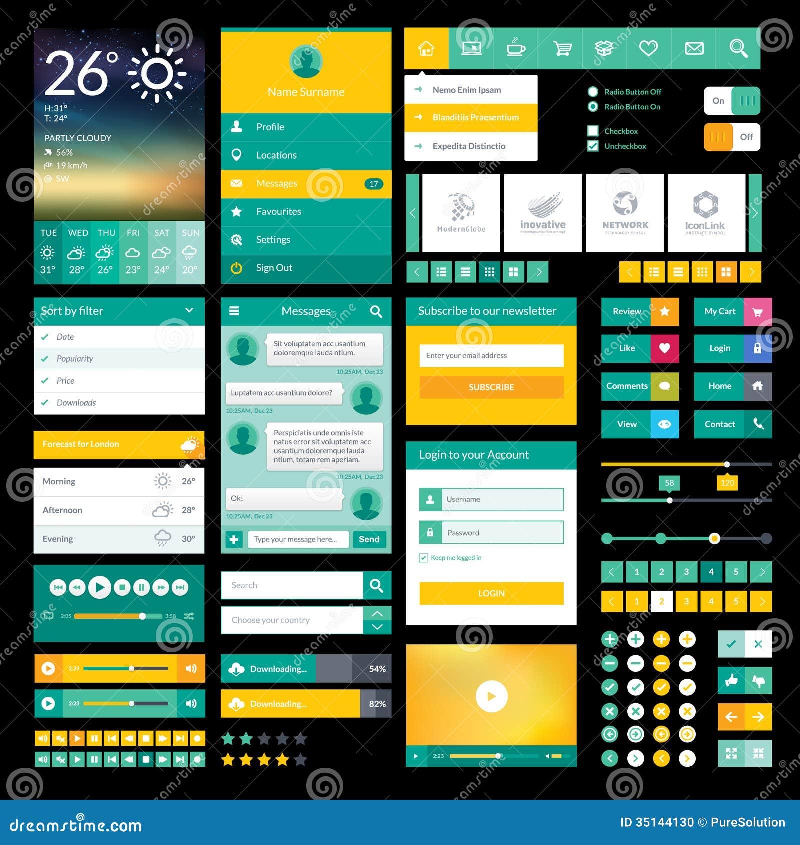 Iconos y elementos planos para el app móvil y el DES del web