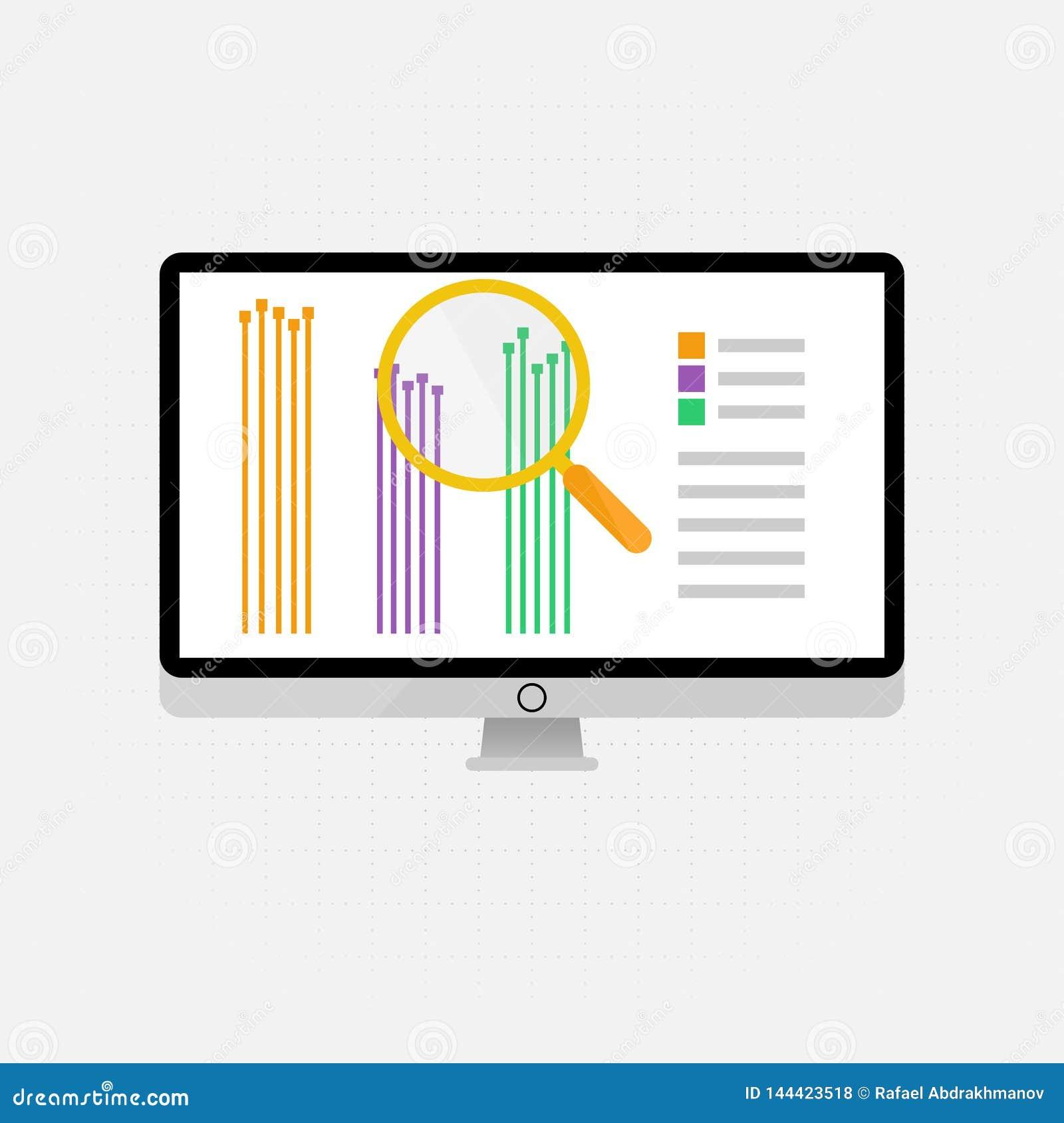 Iconos y muestras del vector para la gestión y el concepto de comercialización de infographic del análisis de datos grande y del