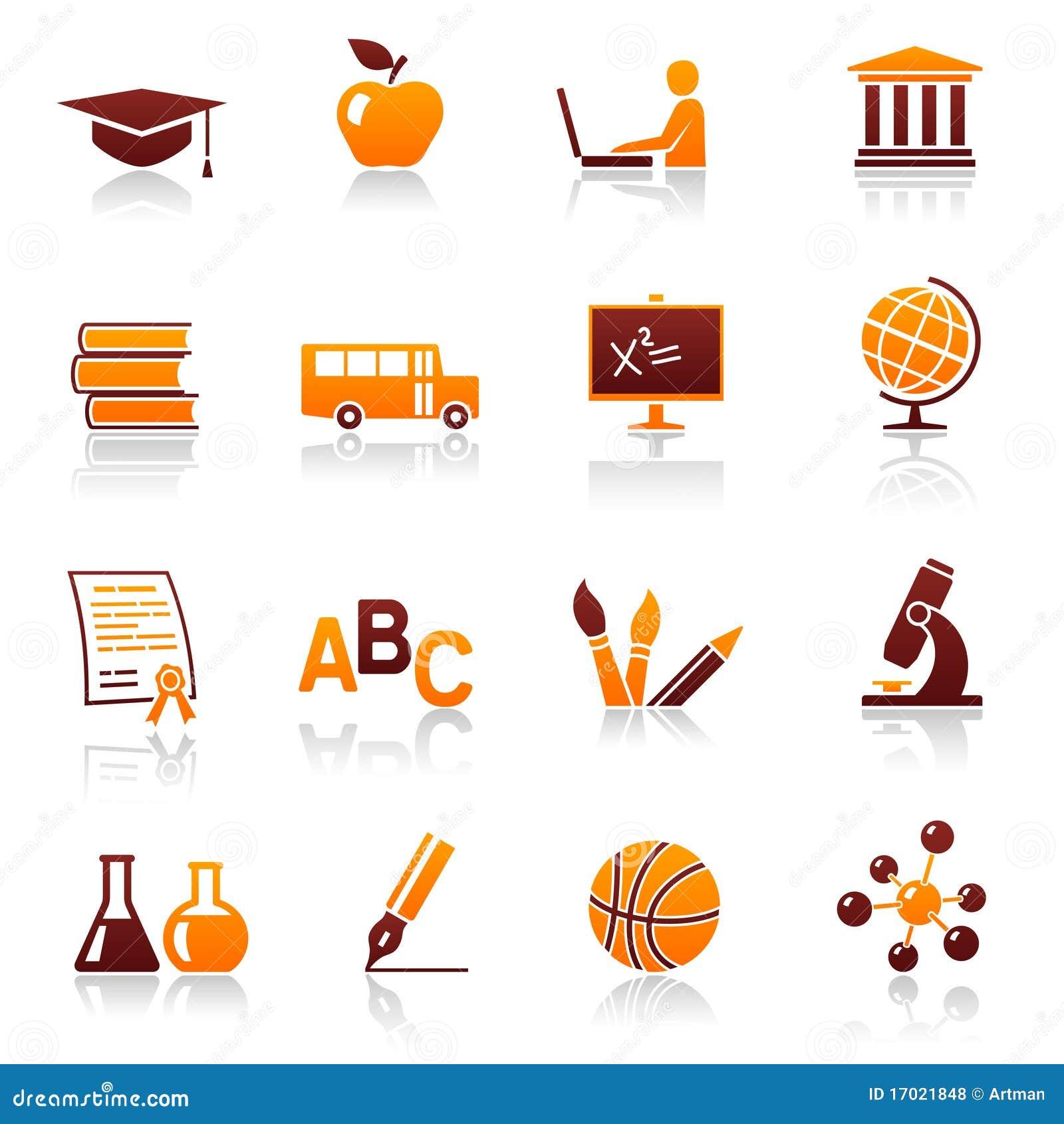 iconos y símbolos de la educación ilustración del vector