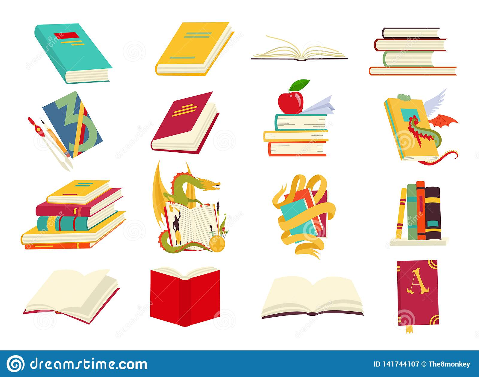 Icons of books vector set in a flat design style. Books in a stack, open, in a group, closed, on the shelf. Reading