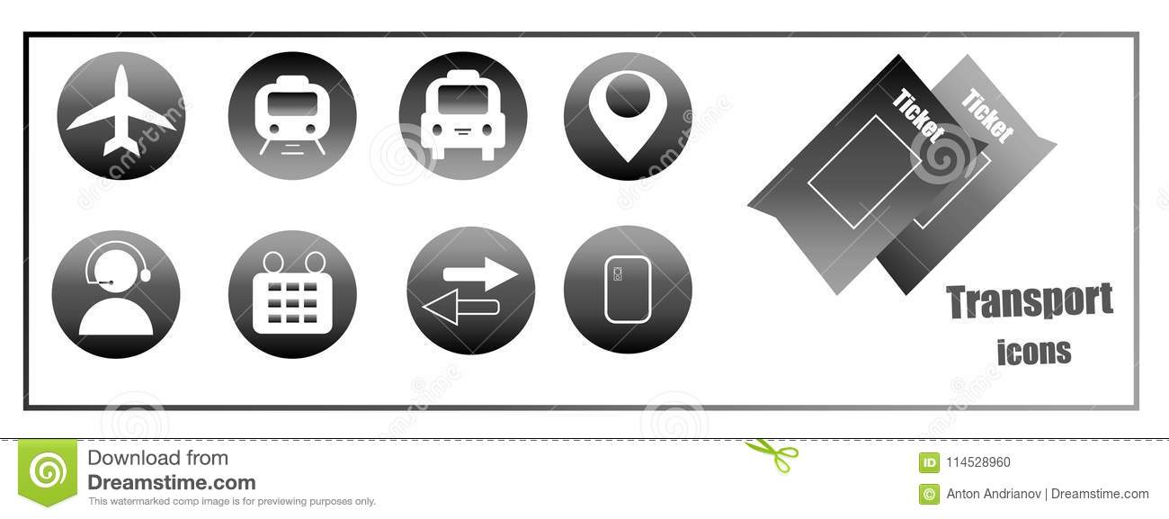 Icons For Buying Online Tickets For Transport  Web Site