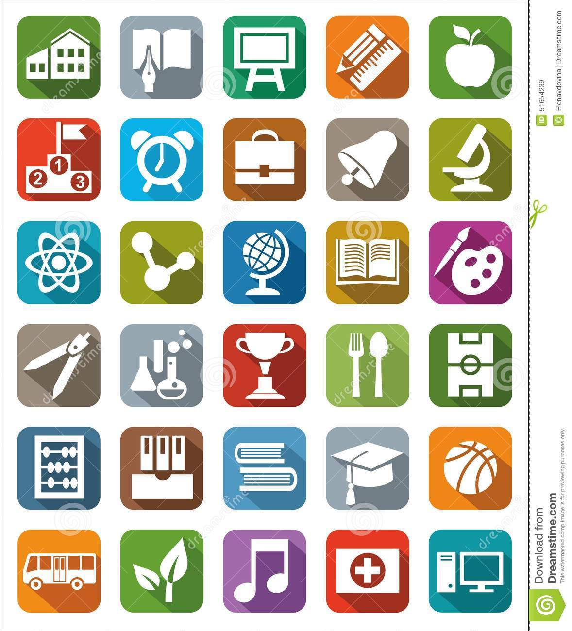 Icons colored education.