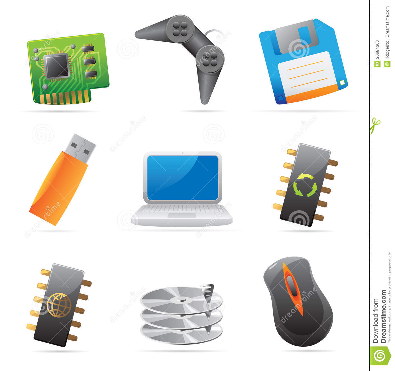 icons for computer and computer parts stock photo image