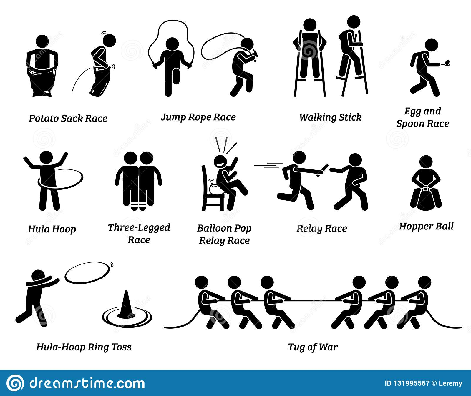 Elementary School Children Sport Games Competition Icons And