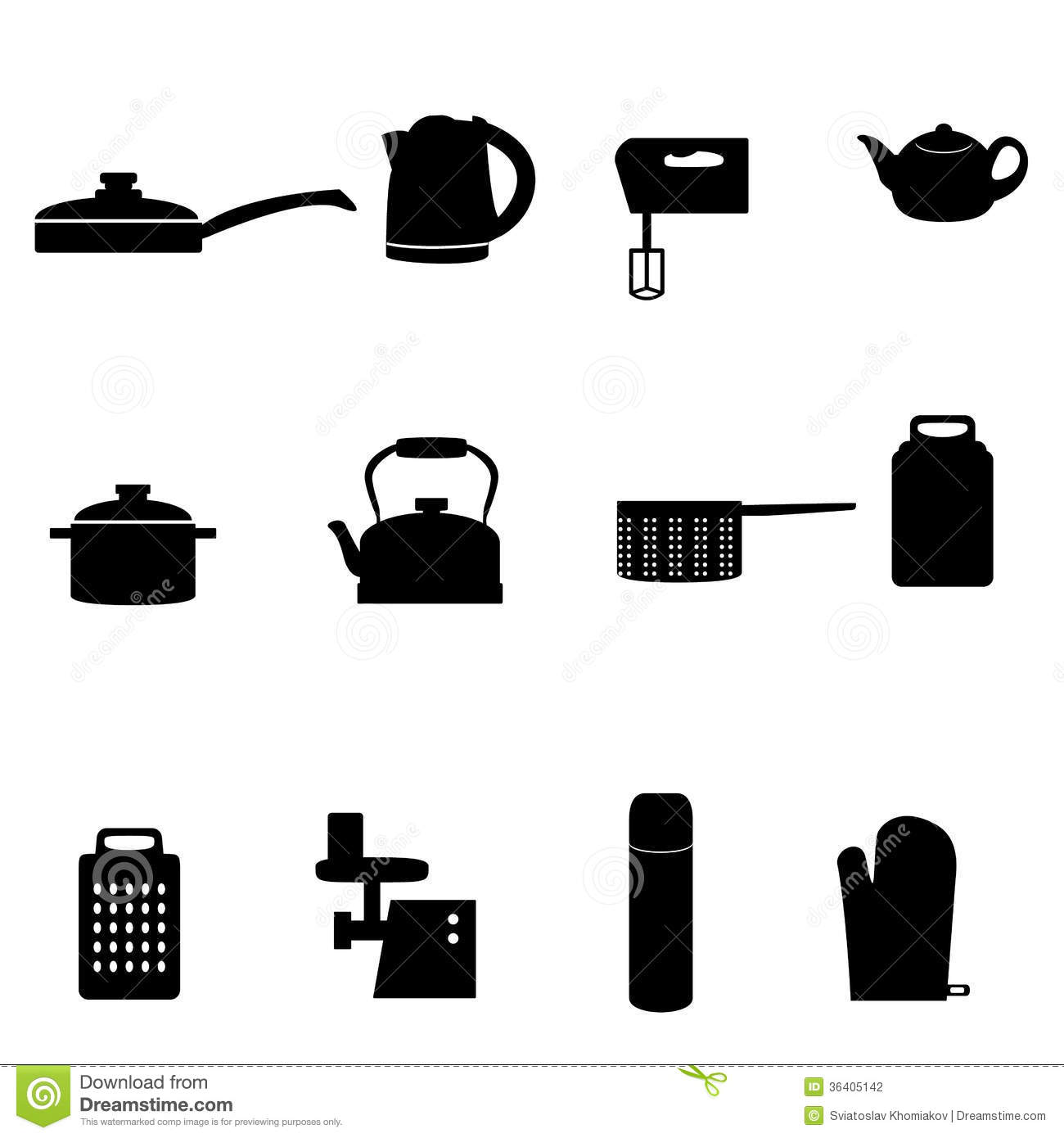 icons of different types of kitchen appliances stock