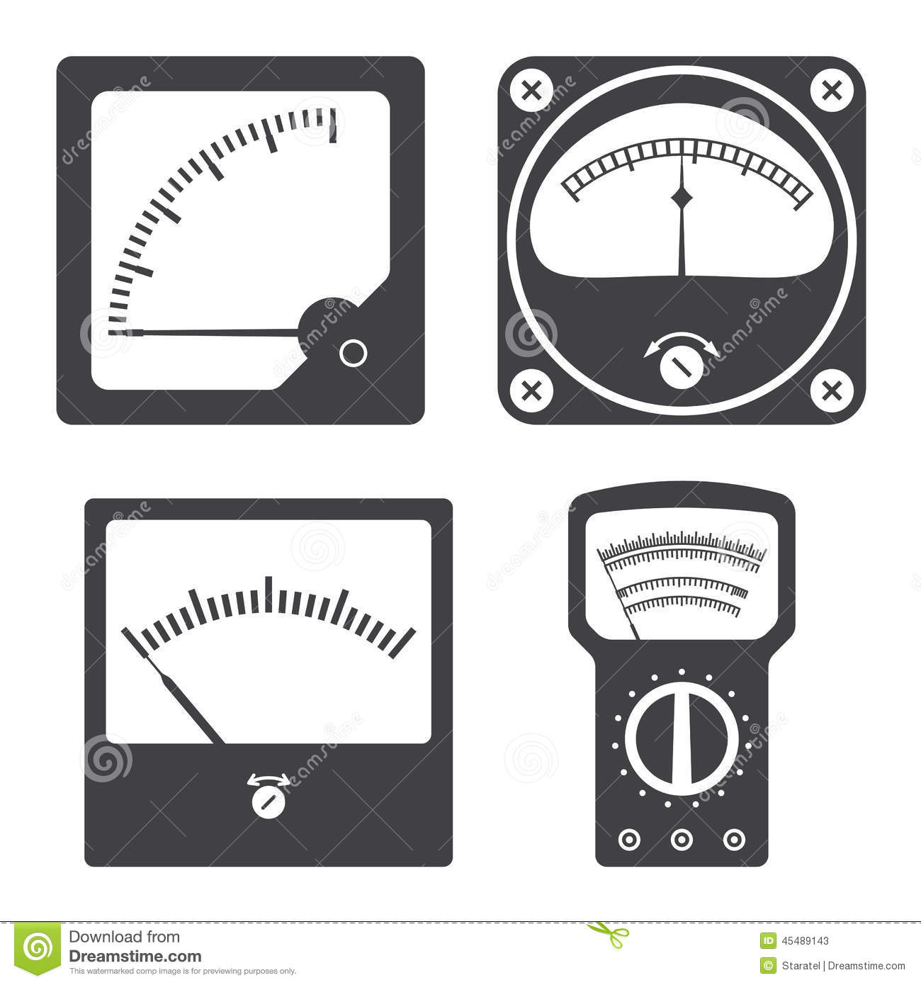 Measuring Electrical Equipments : Icons of electrical measuring instruments stock vector