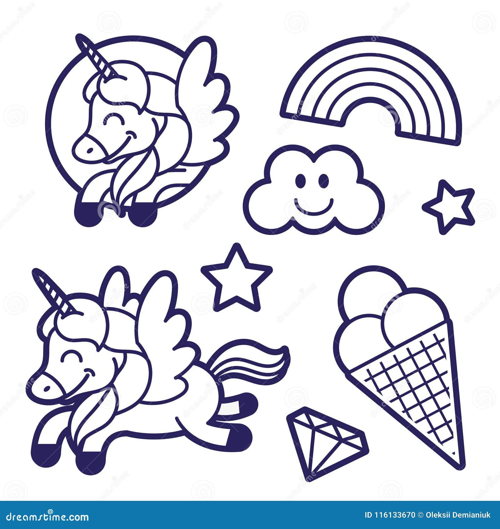 Sticker Set With Unicorn Rainbow And Ice Cream Stock ...