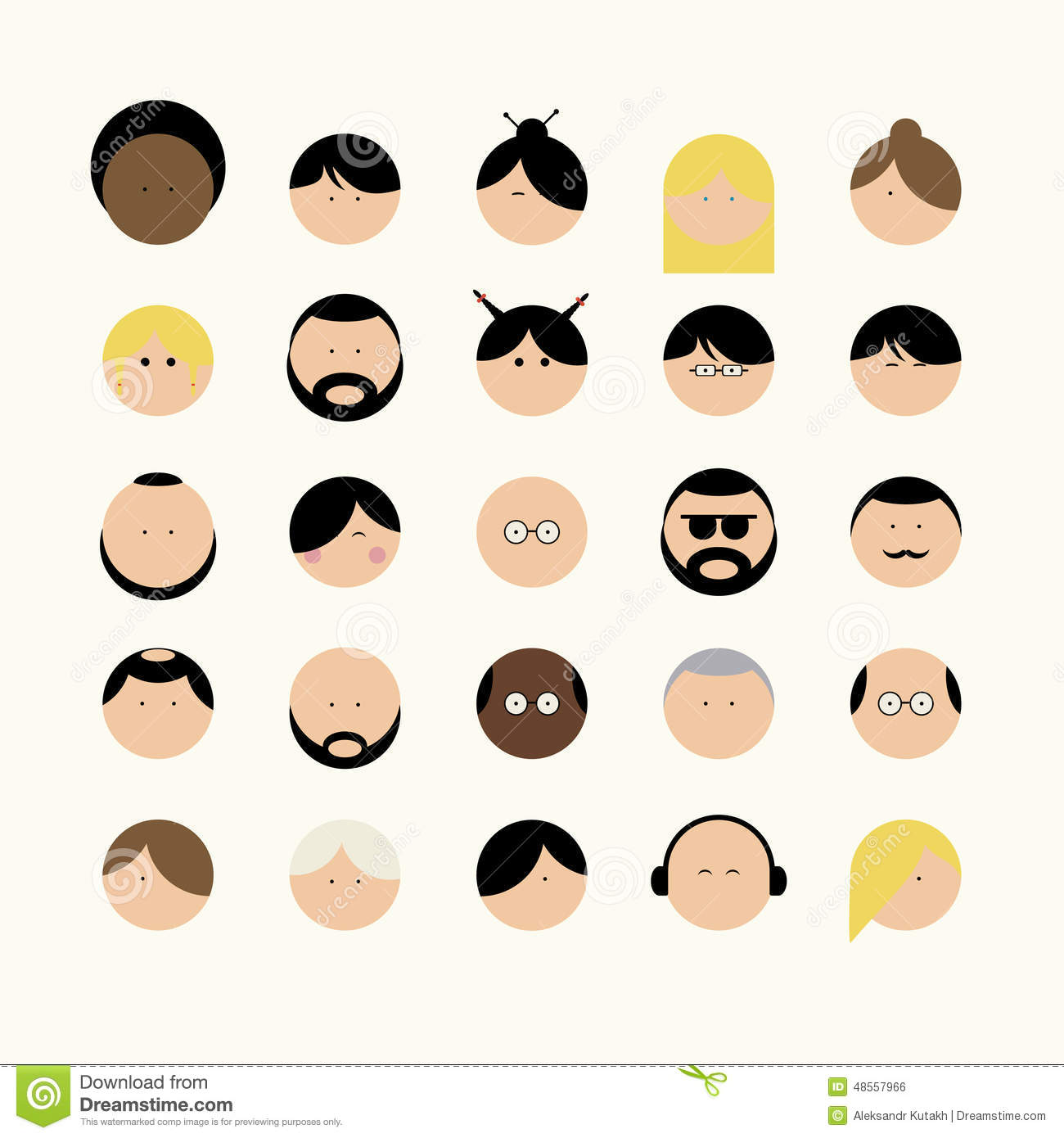 Icons faces different types of people.