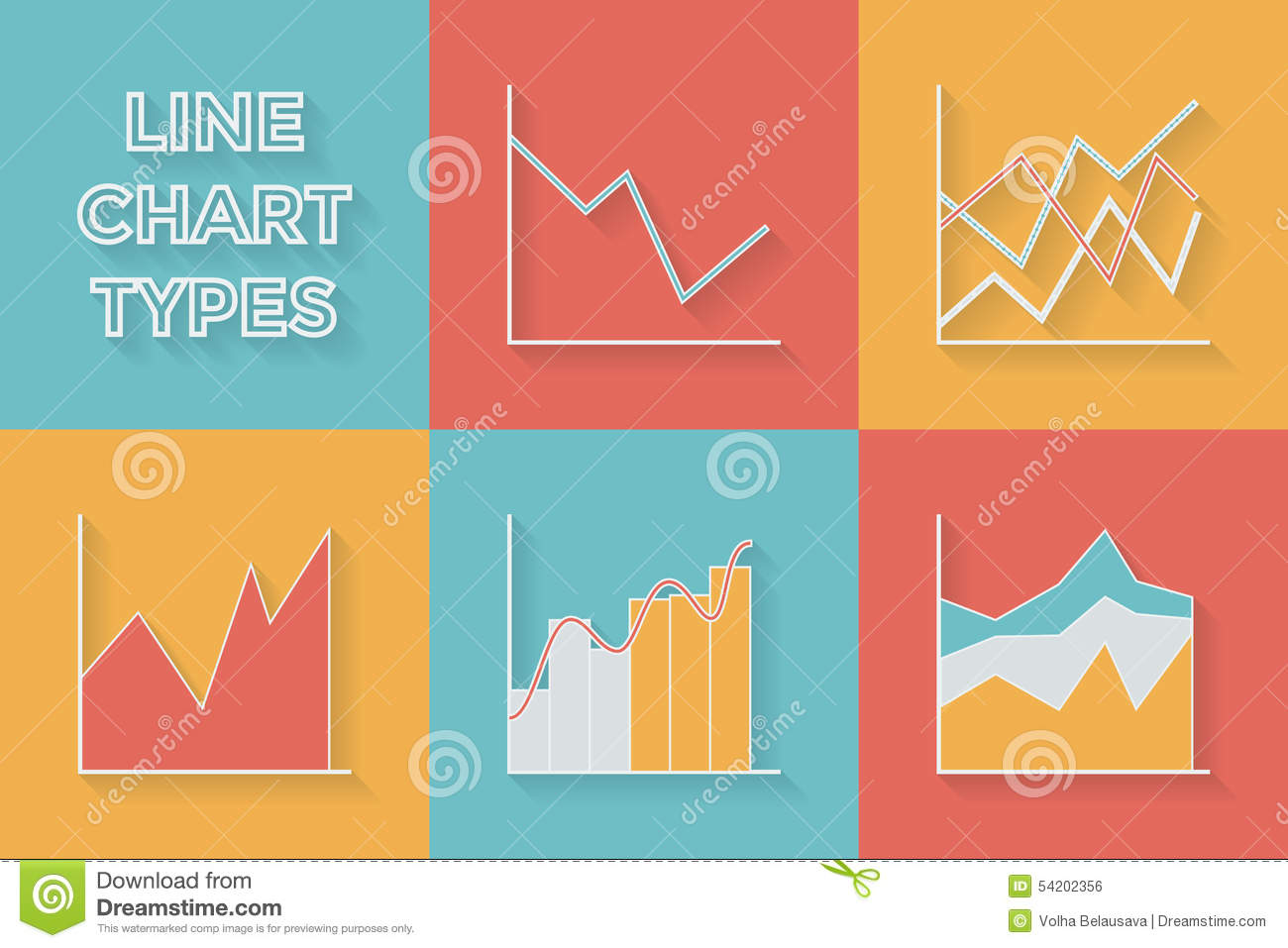 icons in flat style graph types set of stock vector