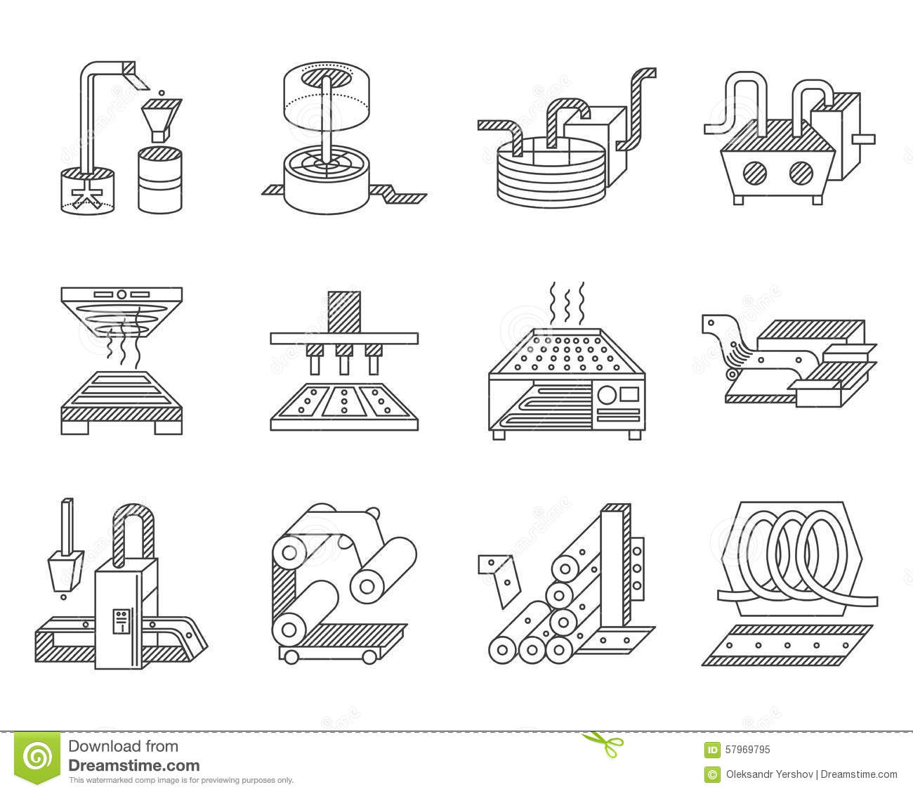 Drawing Lines In Processing : Icons for food processing industry stock illustration