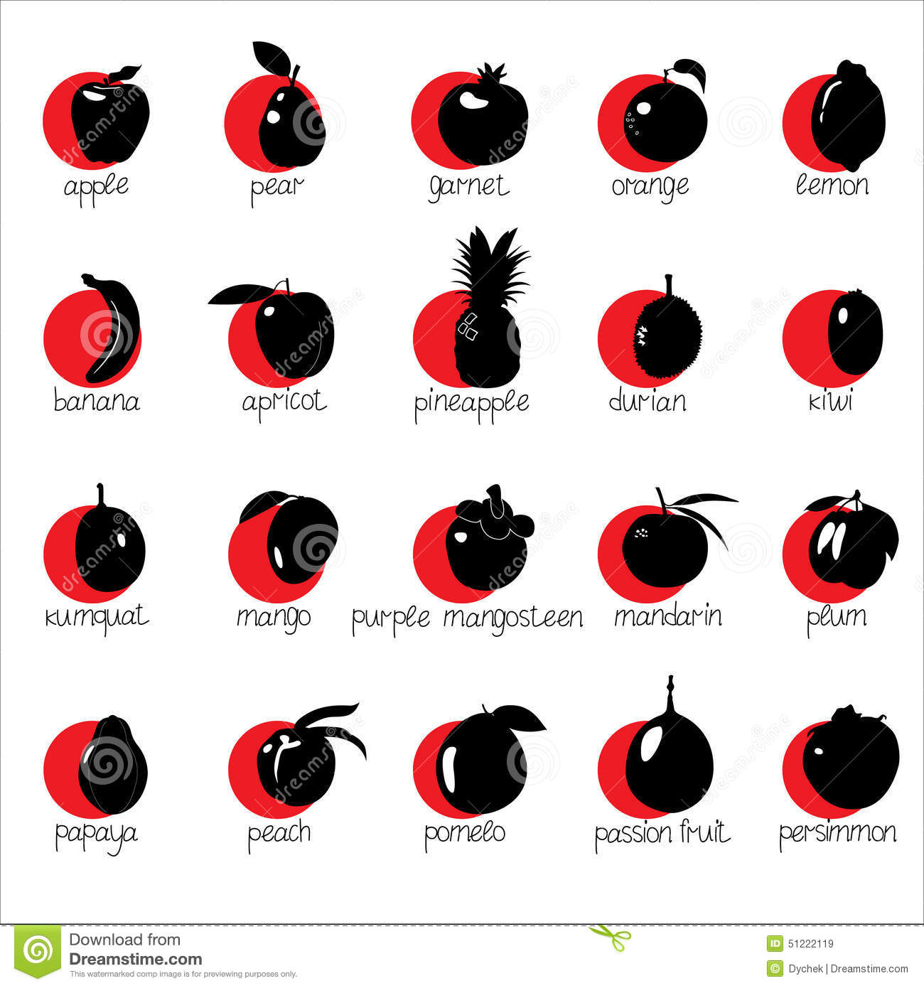 icons with fruit on red circles with names stock vector