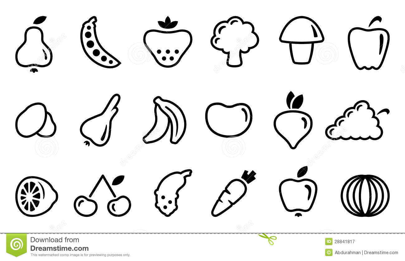 Icons Of Fruit And Vegetables Stock Vector Illustration