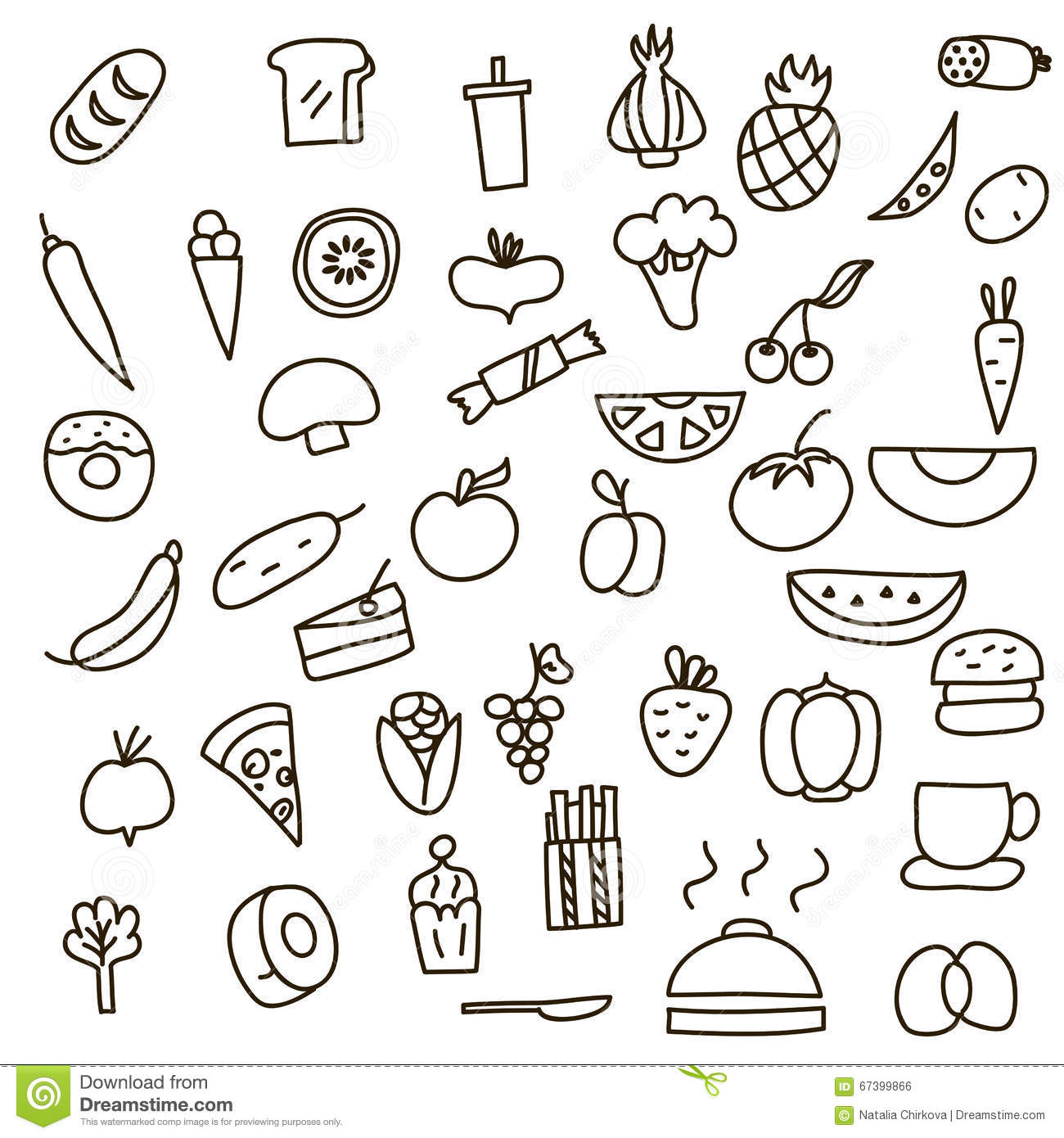 Icons Of Fruits Vegetables And Food A Hand Drawn Doodle