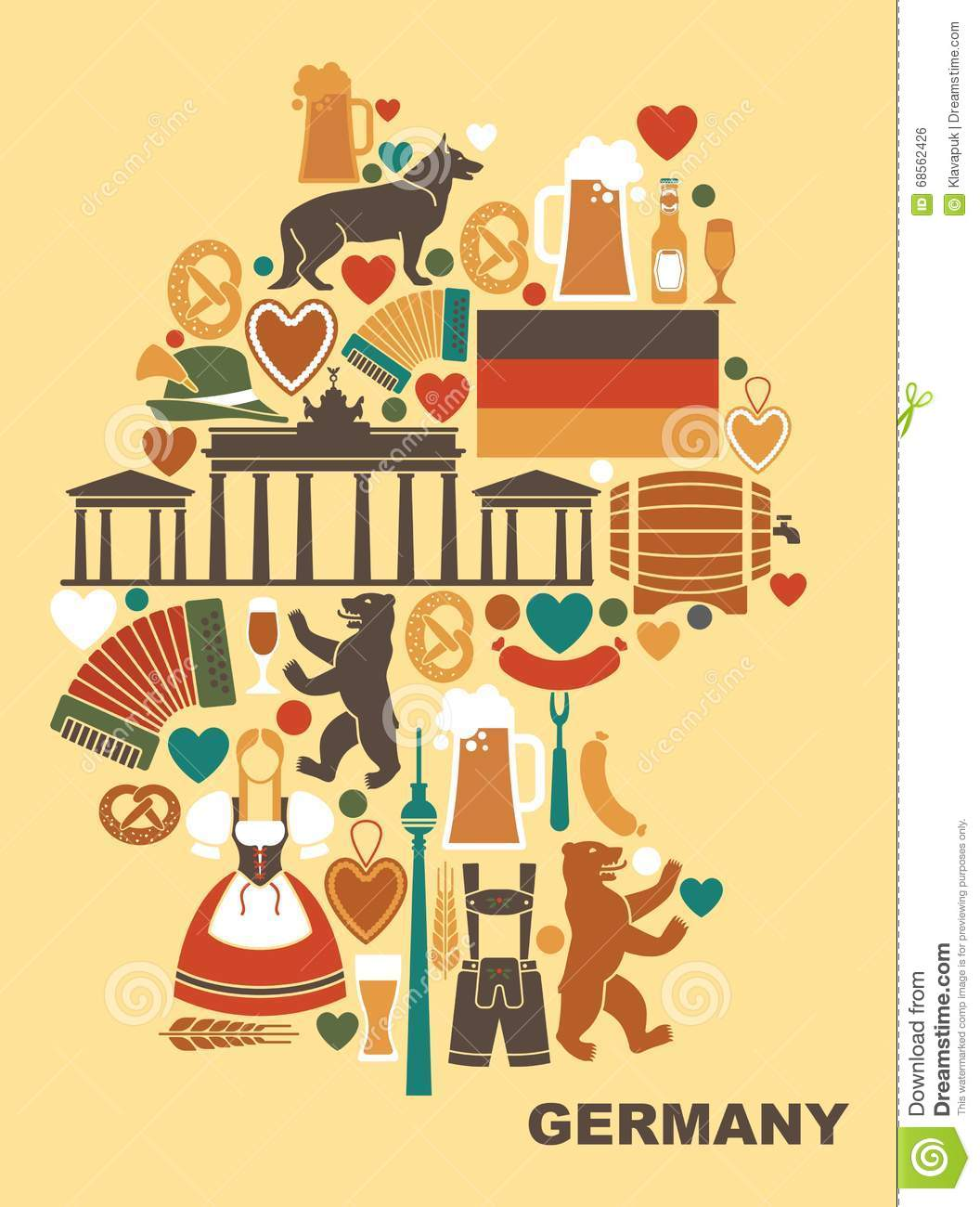 Icons Of Germany In The Form A Map Stock Vector Image