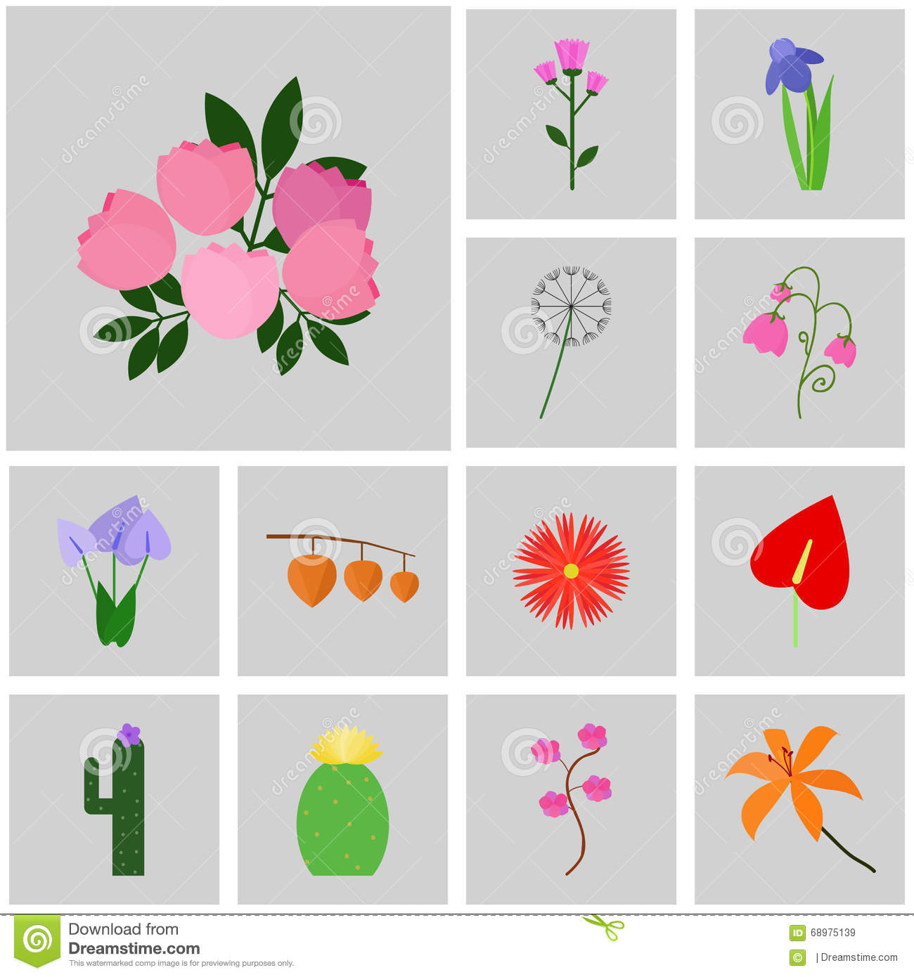Icons gray square vector icon set flower icon peony pink flower gray icon peony pink dhlflorist Images