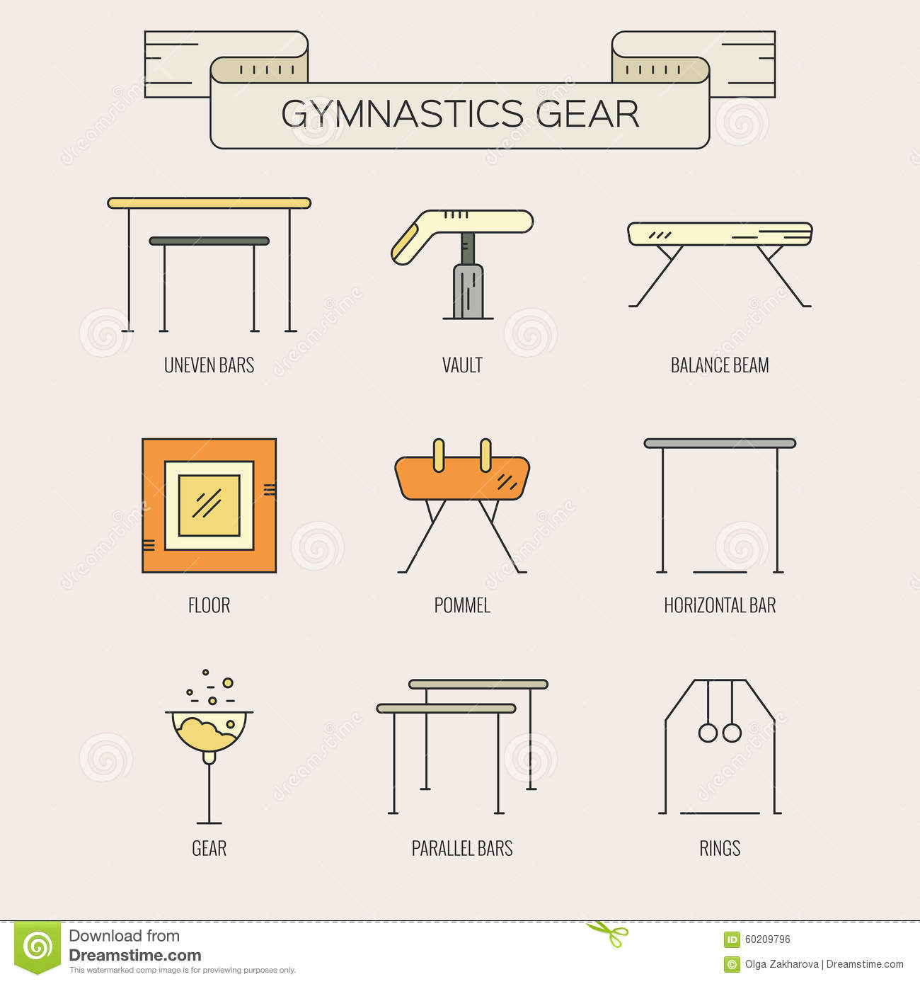Icons With Gymnastics Symbols Stock Vector Illustration