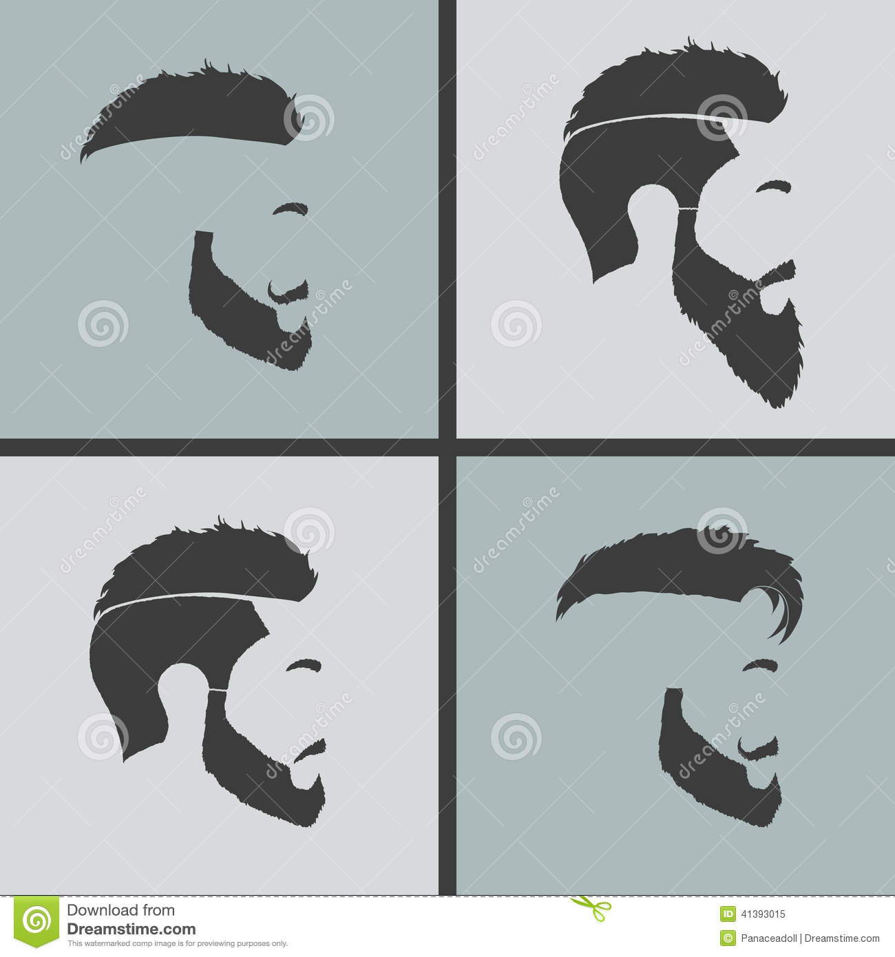 Icons Hairstyles Beard Stock Vector - Image: 41393015