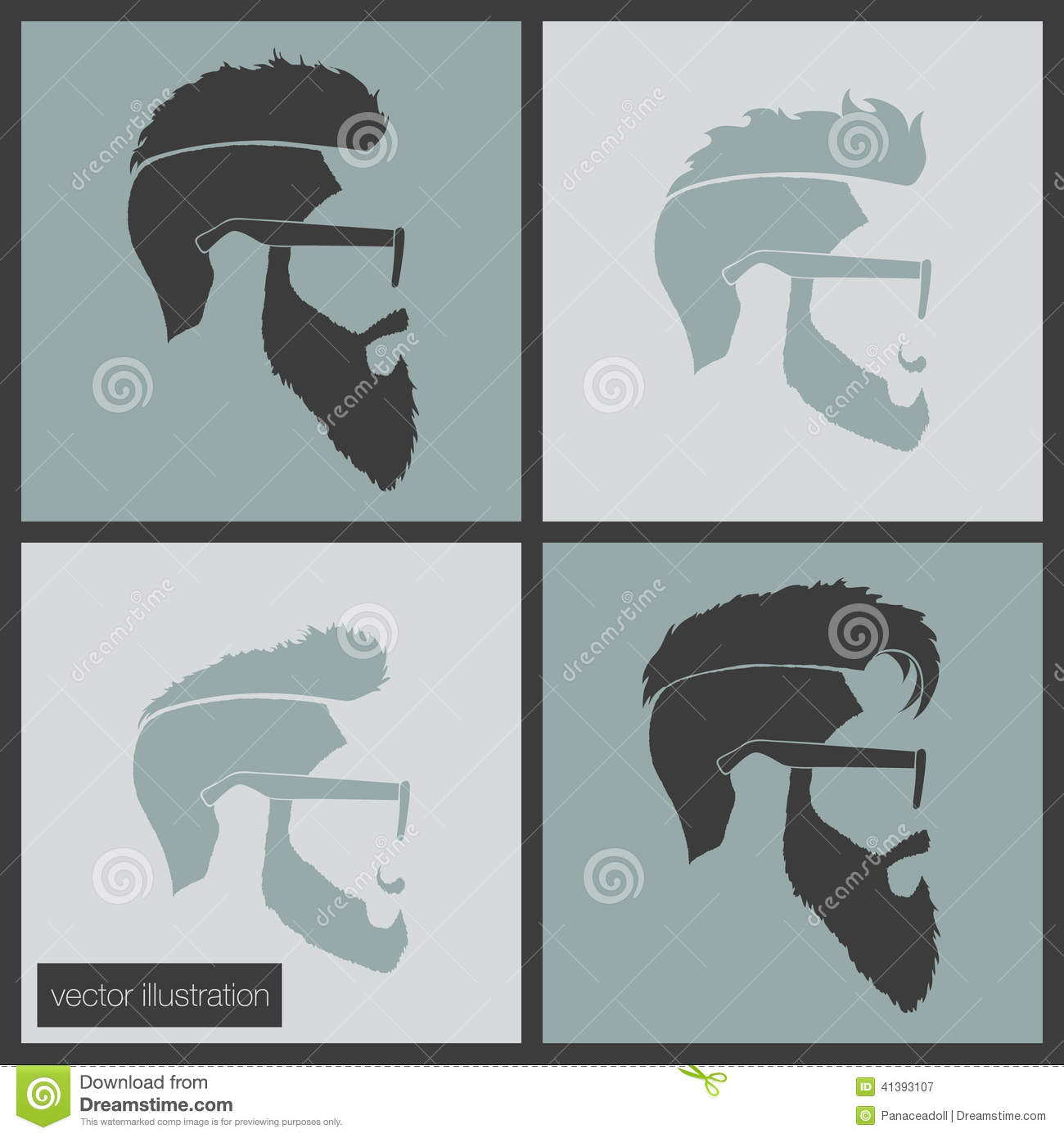 Icons Hairstyles Beard Stock Vector - Image: 41393107