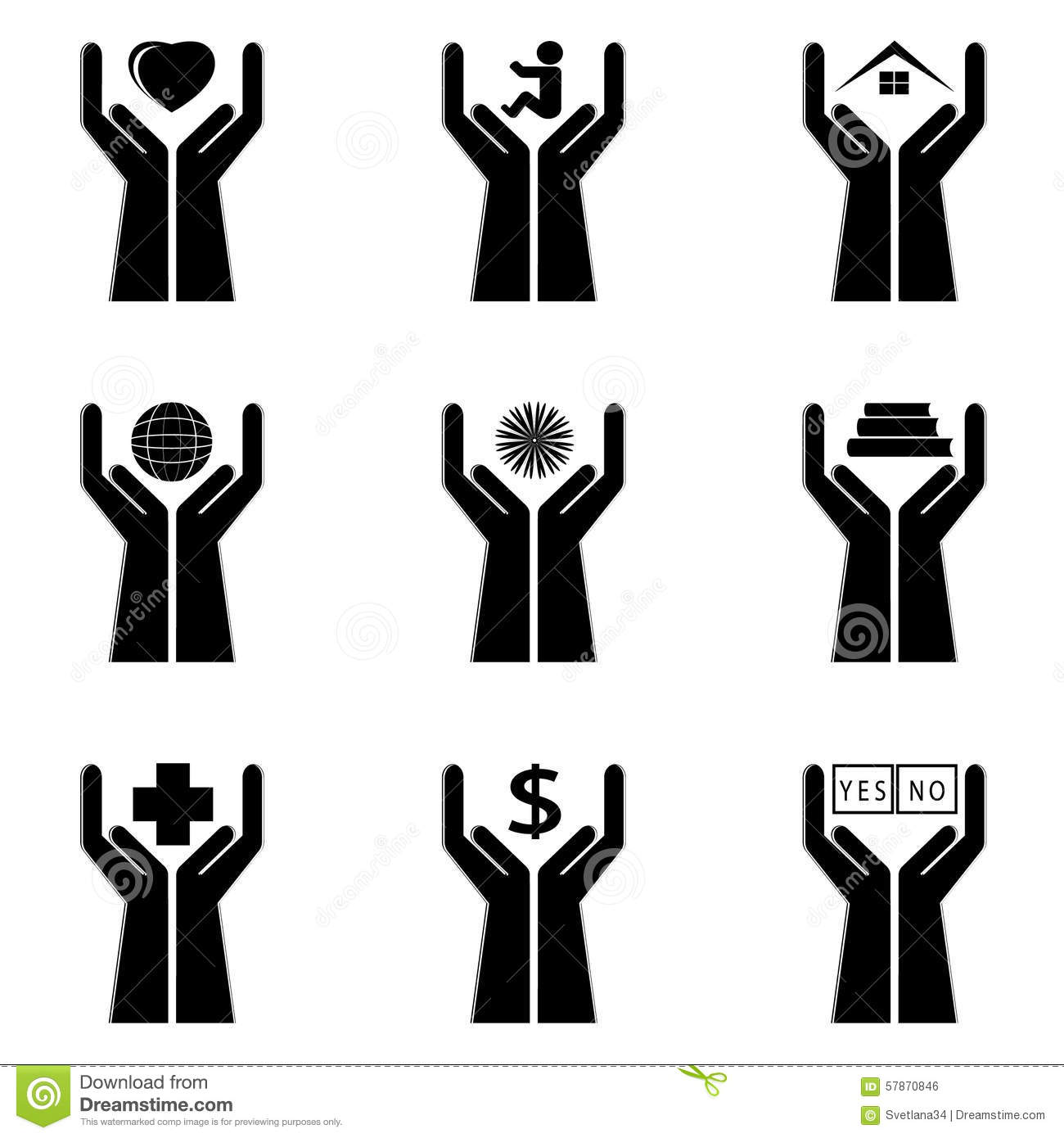 Icons Of A Hand And Symbols Stock Vector Illustration Of Finger