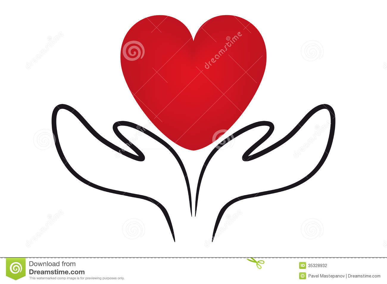 icons of hands holding a heart symbol stock vector