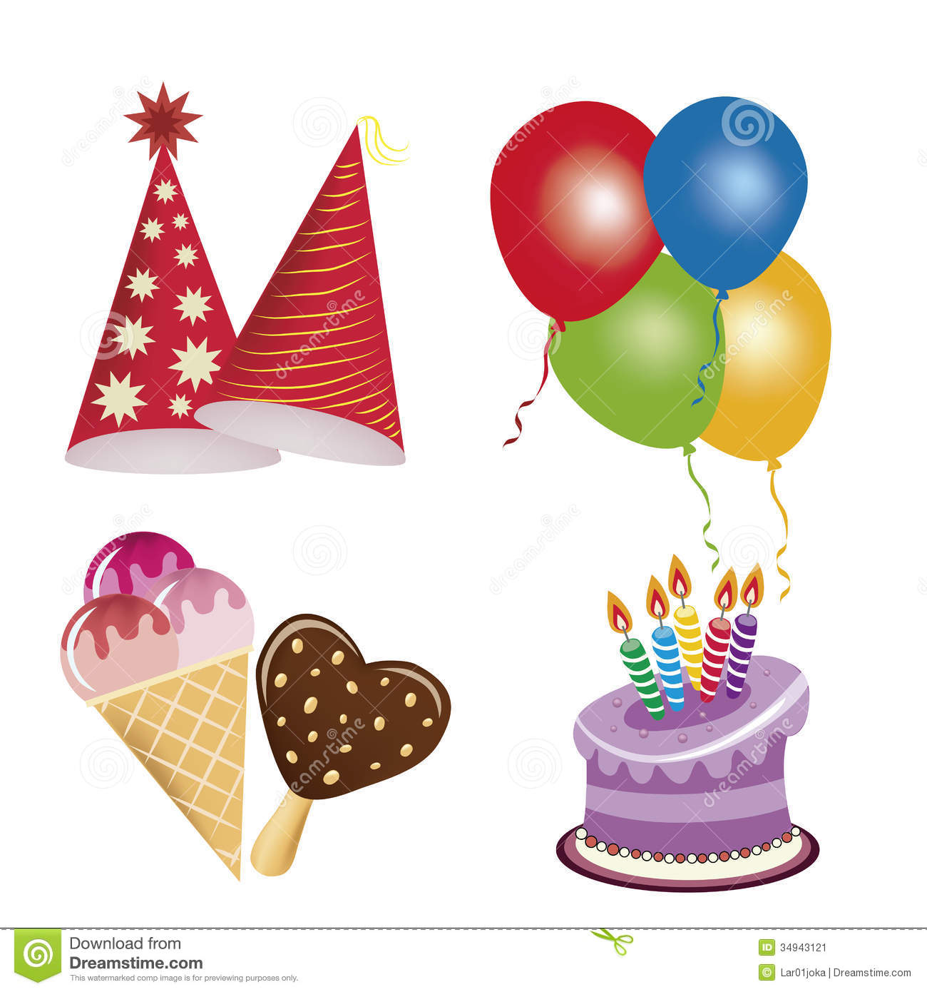 Icons For Happy Birthday Stock Vector Illustration Of