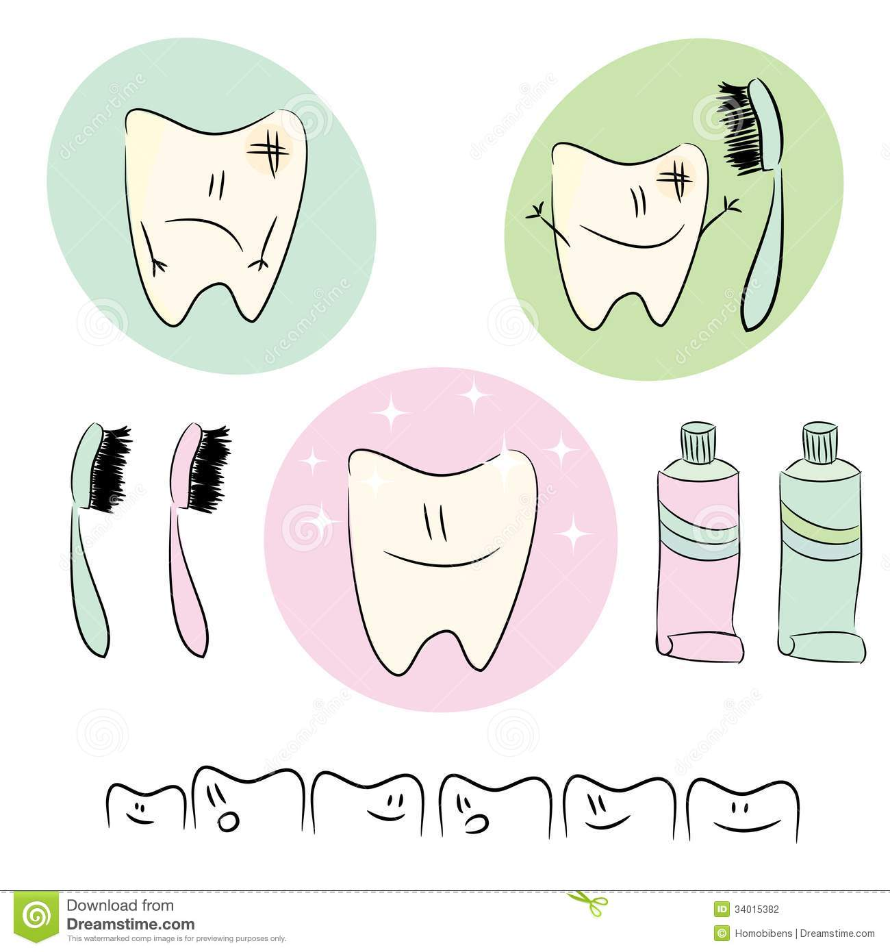 Icons, illustrations on the theme of dental care f