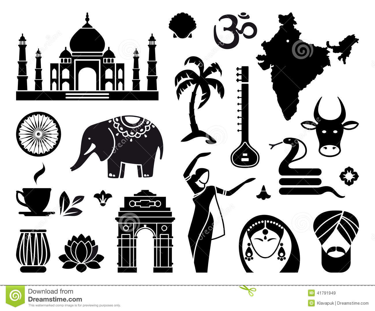 icons of india stock vector illustration of drum lotus 41791949. Black Bedroom Furniture Sets. Home Design Ideas