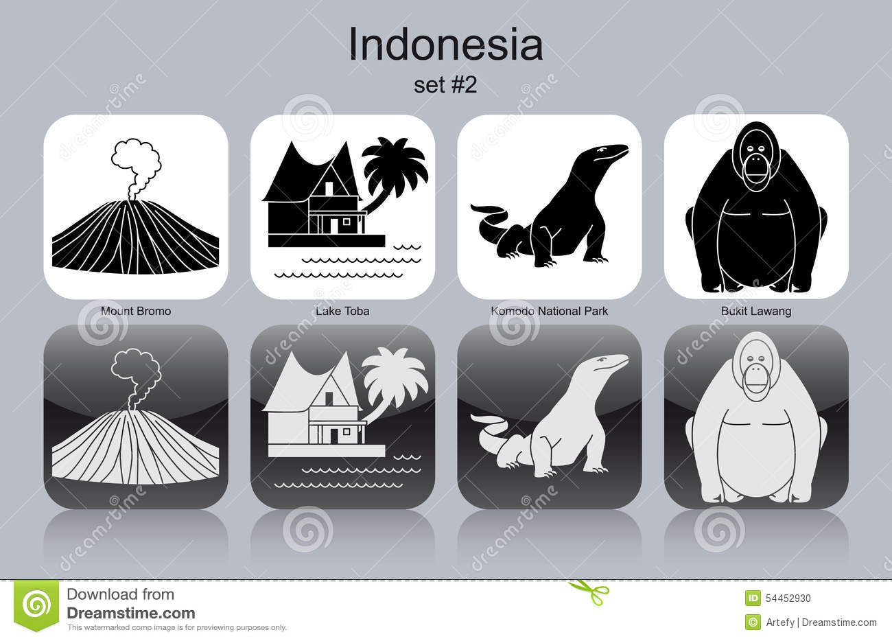 Icons of Indonesia Dome monochrome Royalty Free Vector