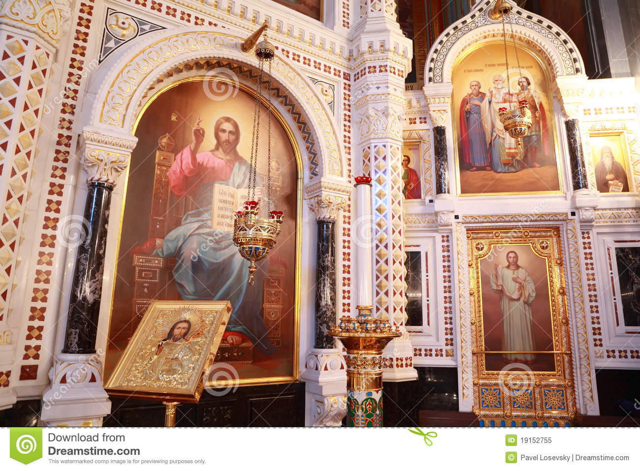 Icons Inside Cathedral Of Christ The Saviour Stock Image